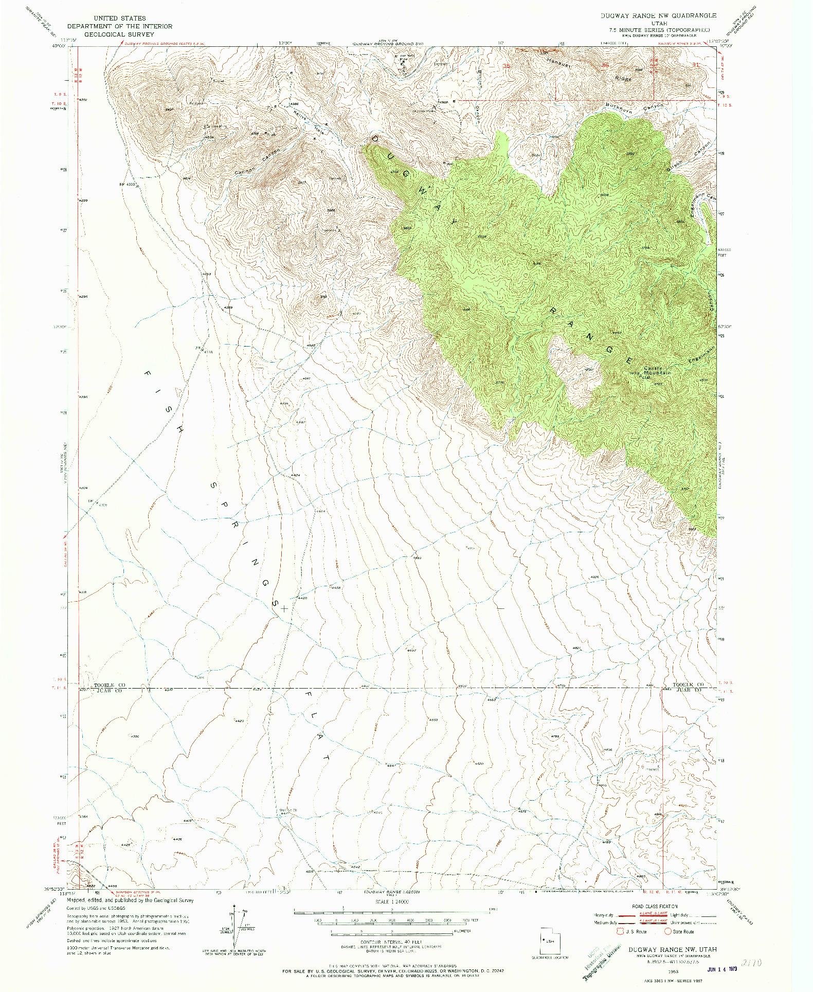 USGS 1:24000-SCALE QUADRANGLE FOR DUGWAY RANGE NW, UT 1953