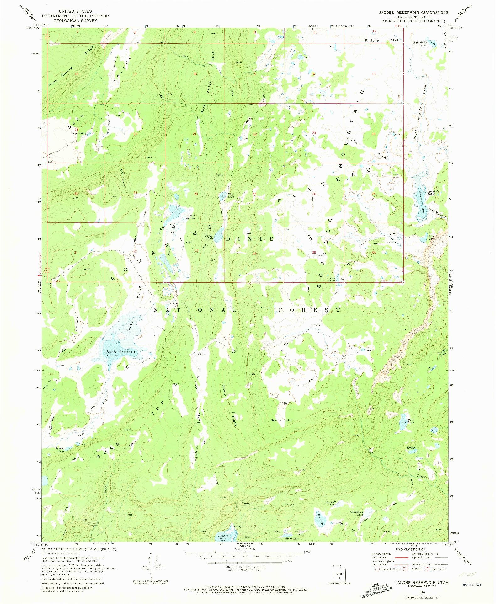 USGS 1:24000-SCALE QUADRANGLE FOR JACOBS RESERVOIR, UT 1969