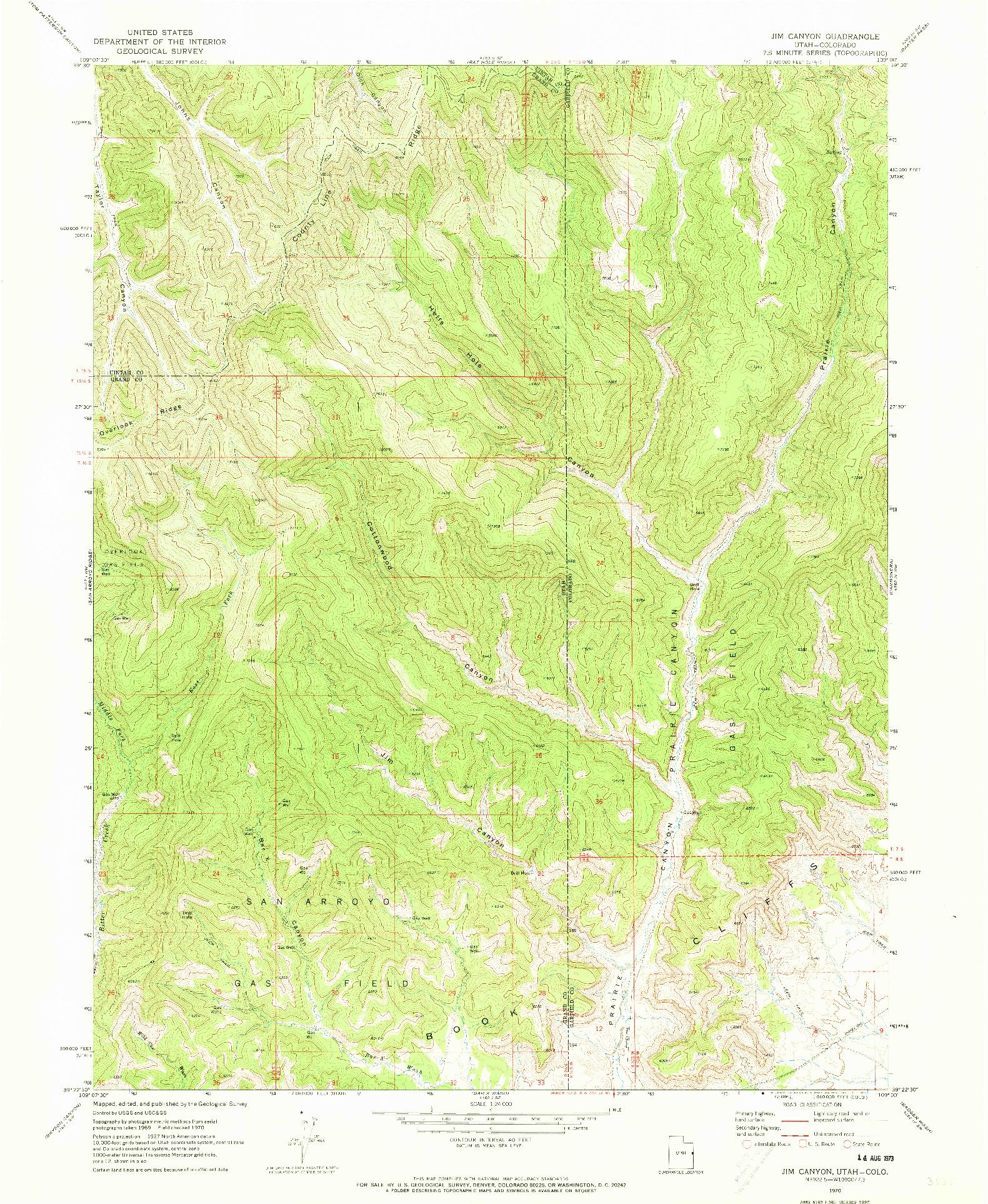 USGS 1:24000-SCALE QUADRANGLE FOR JIM CANYON, UT 1970