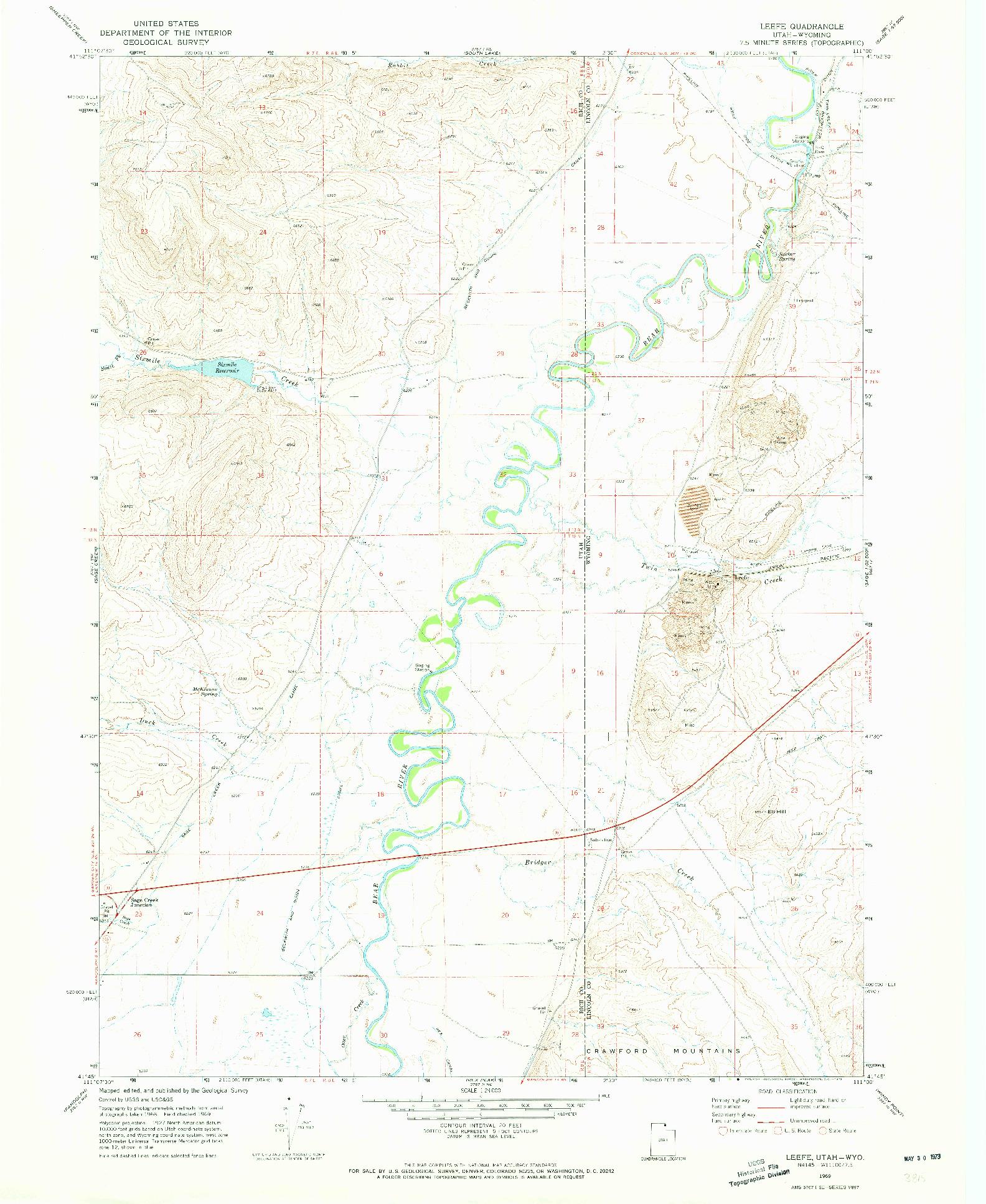 USGS 1:24000-SCALE QUADRANGLE FOR LEEFE, UT 1969