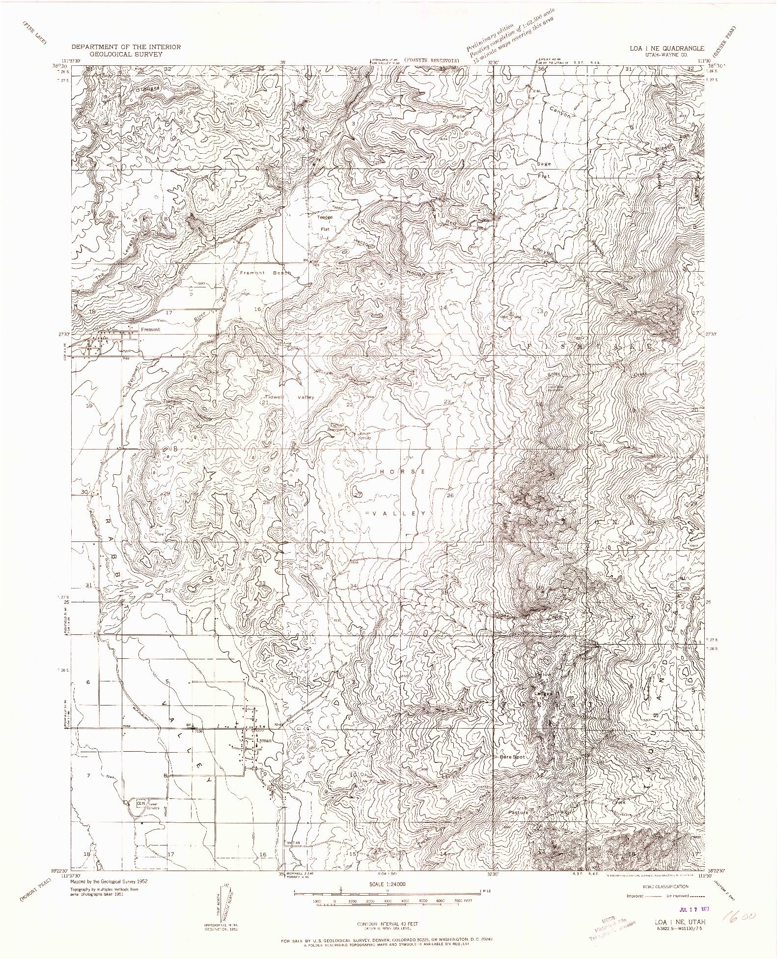 USGS 1:24000-SCALE QUADRANGLE FOR LOA 1 NE, UT 1952