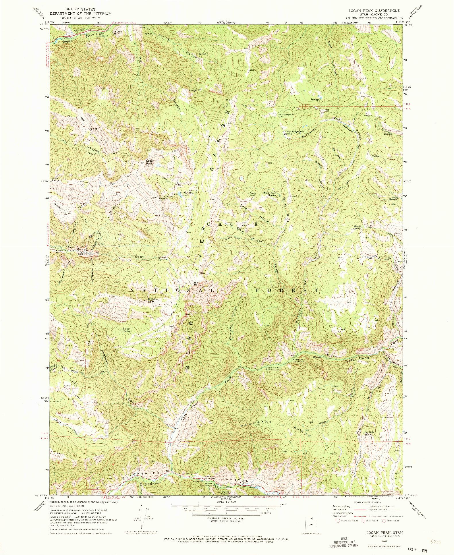 USGS 1:24000-SCALE QUADRANGLE FOR LOGAN PEAK, UT 1969