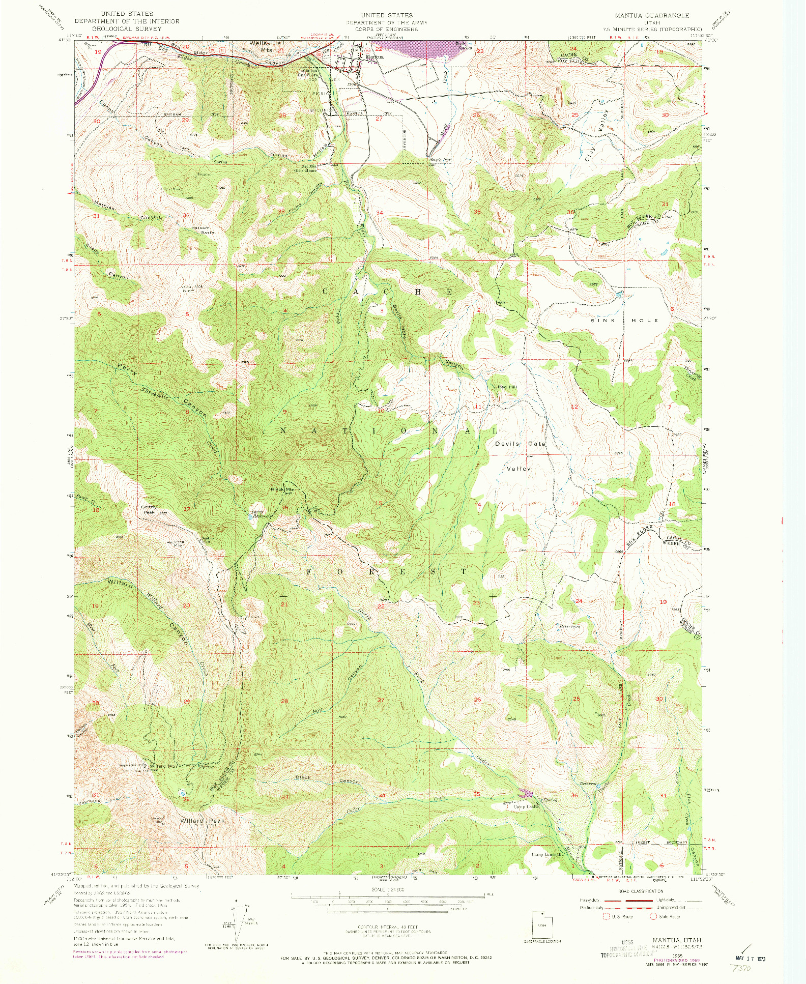 USGS 1:24000-SCALE QUADRANGLE FOR MANTUA, UT 1955