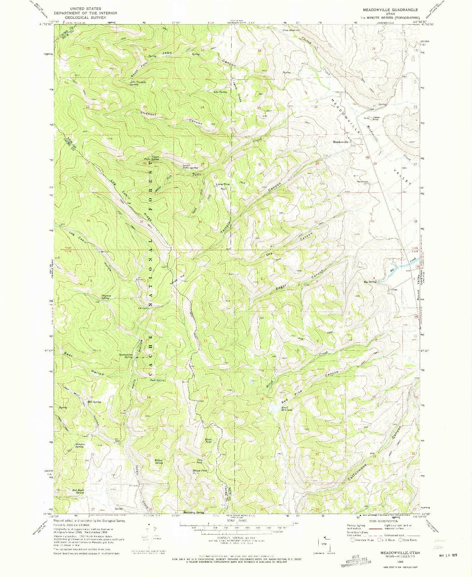 USGS 1:24000-SCALE QUADRANGLE FOR MEADOWVILLE, UT 1969