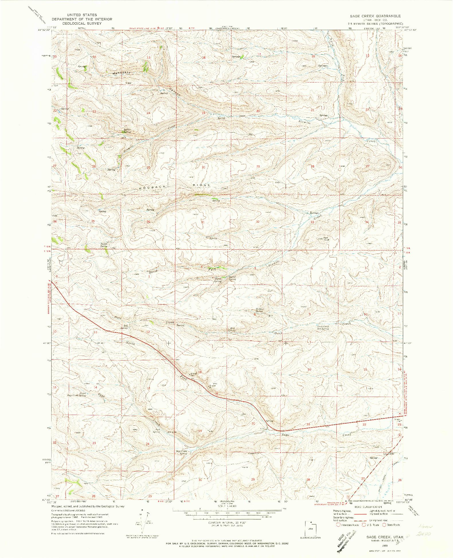 USGS 1:24000-SCALE QUADRANGLE FOR SAGE CREEK, UT 1969
