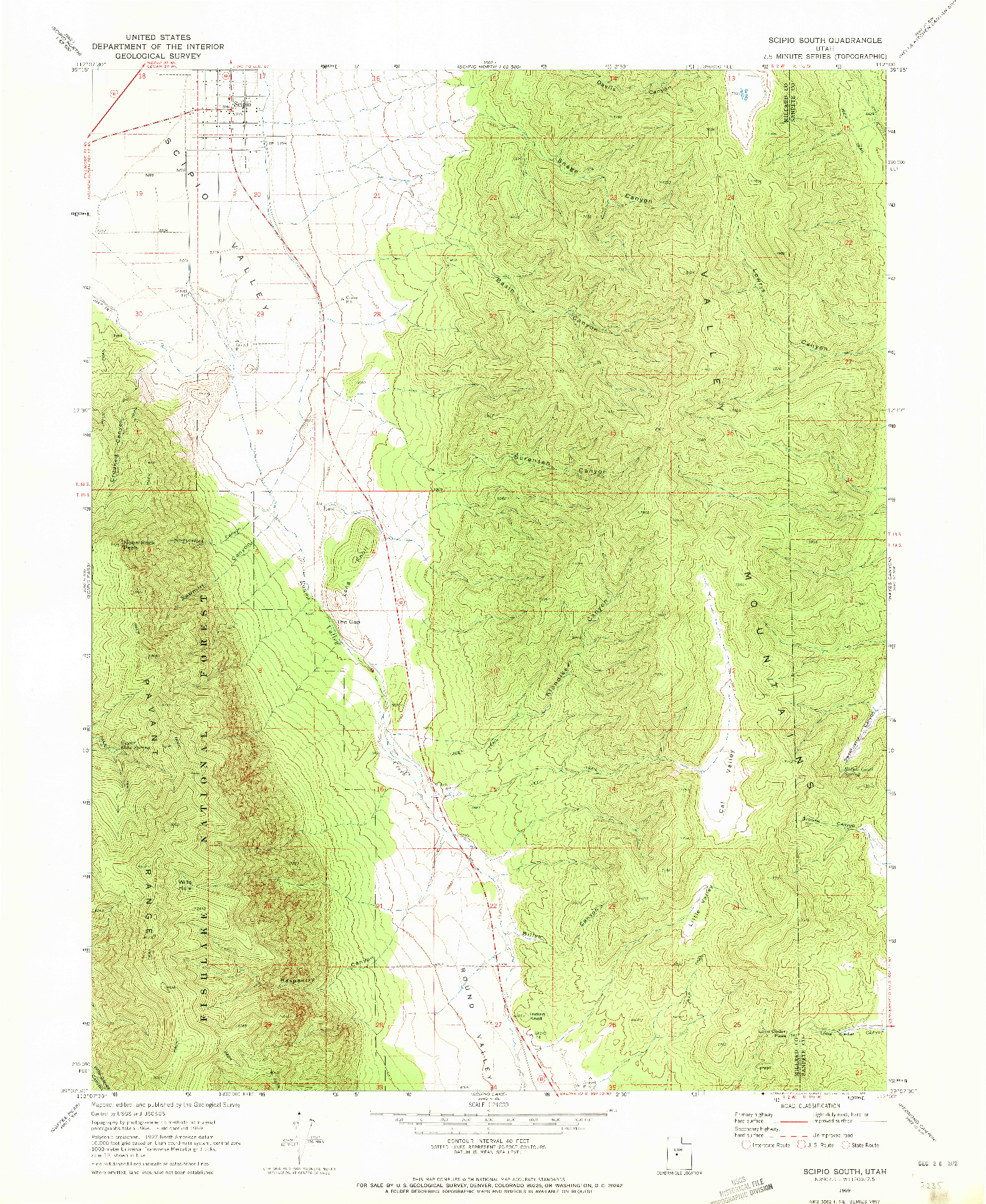 USGS 1:24000-SCALE QUADRANGLE FOR SCIPIO SOUTH, UT 1969