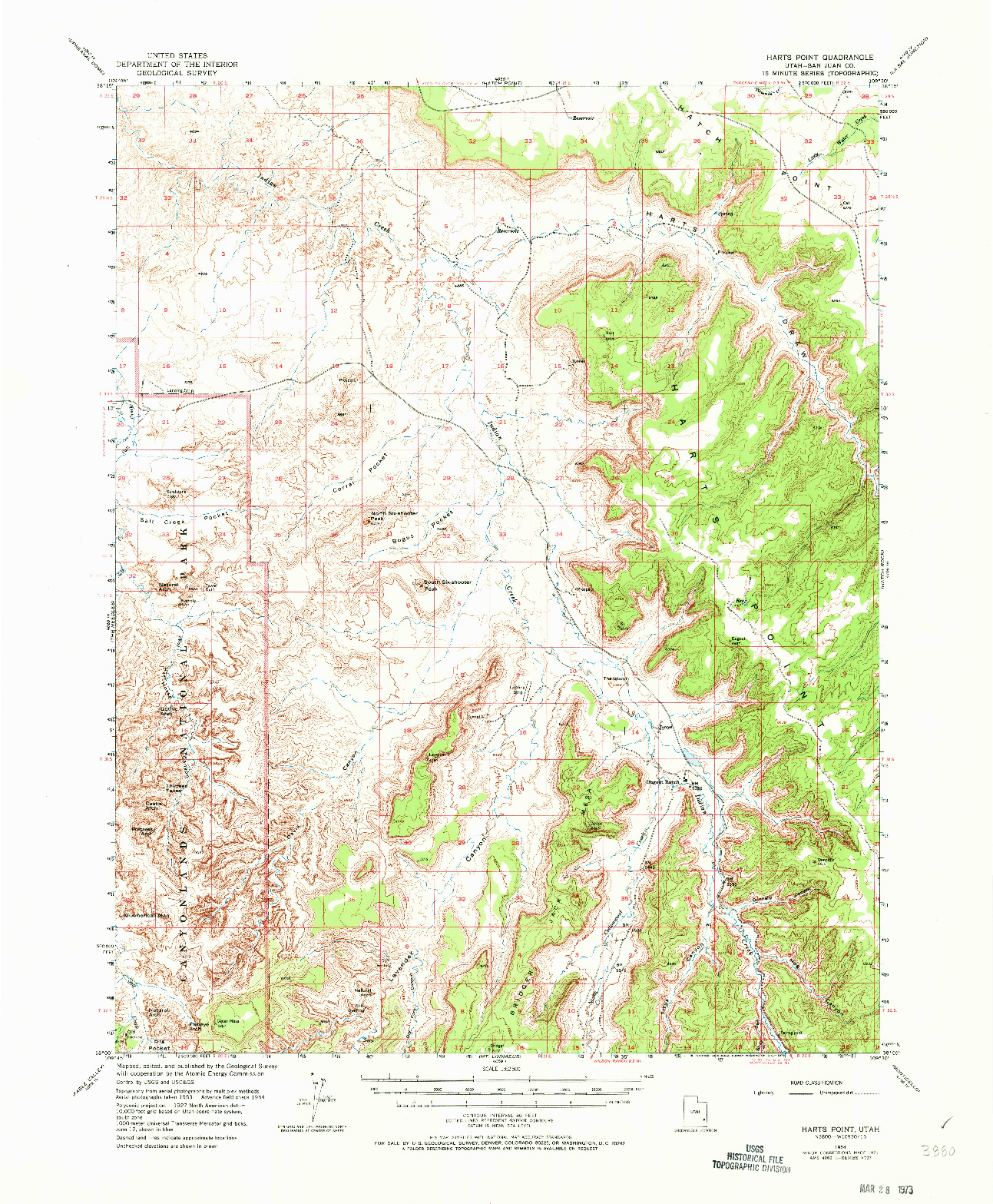 USGS 1:62500-SCALE QUADRANGLE FOR HARTS POINT, UT 1954