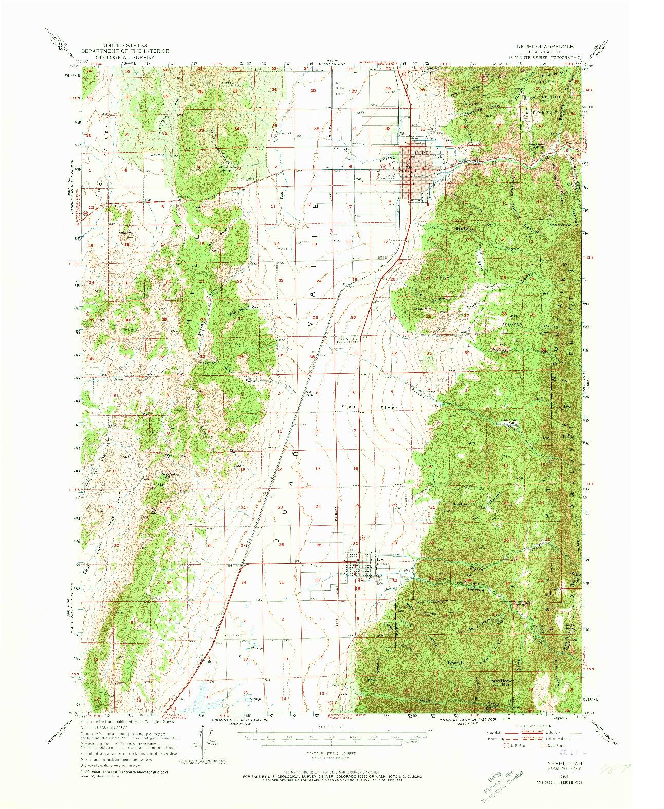 USGS 1:62500-SCALE QUADRANGLE FOR NEPHI, UT 1951