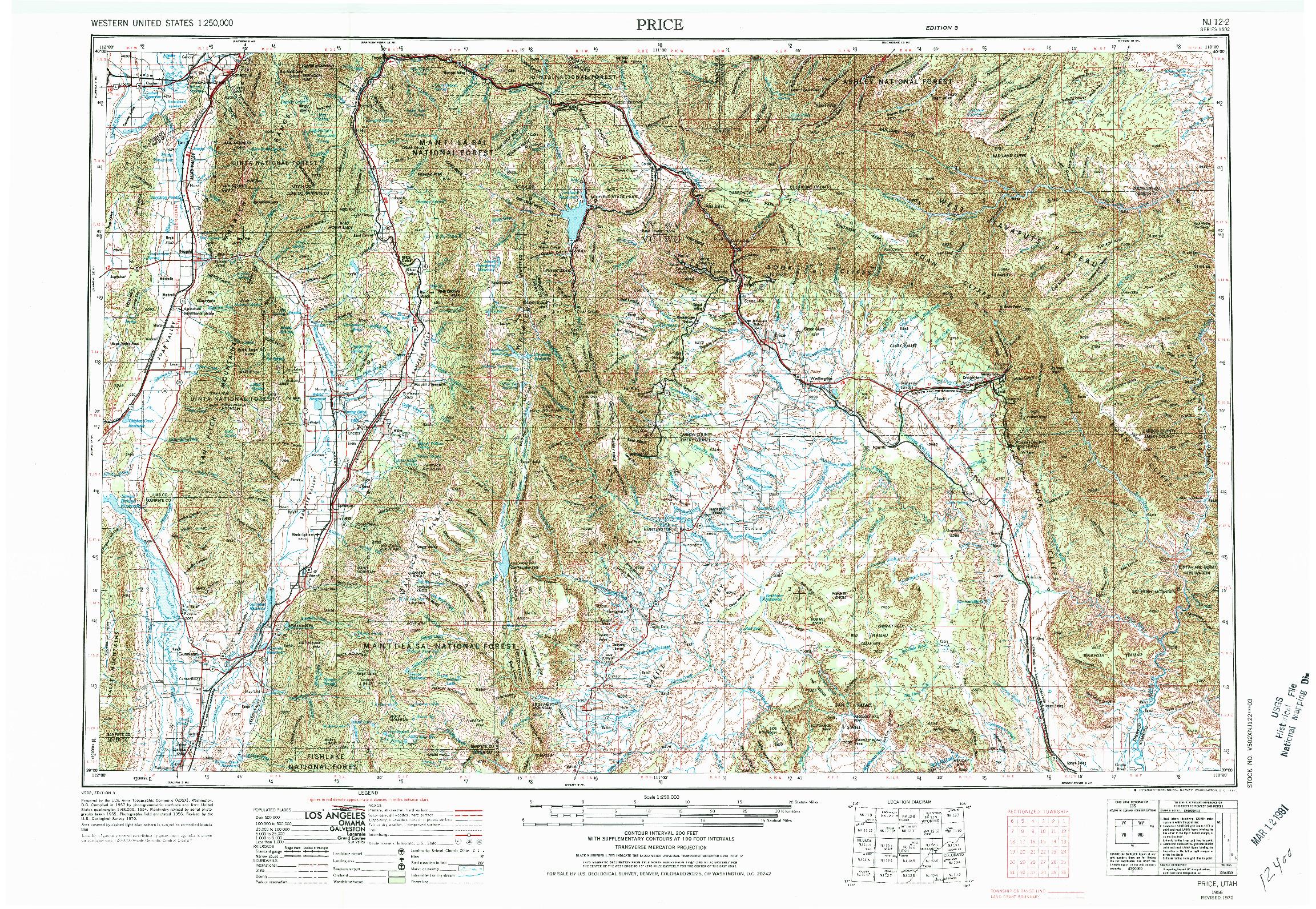 USGS 1:250000-SCALE QUADRANGLE FOR PRICE, UT 1956