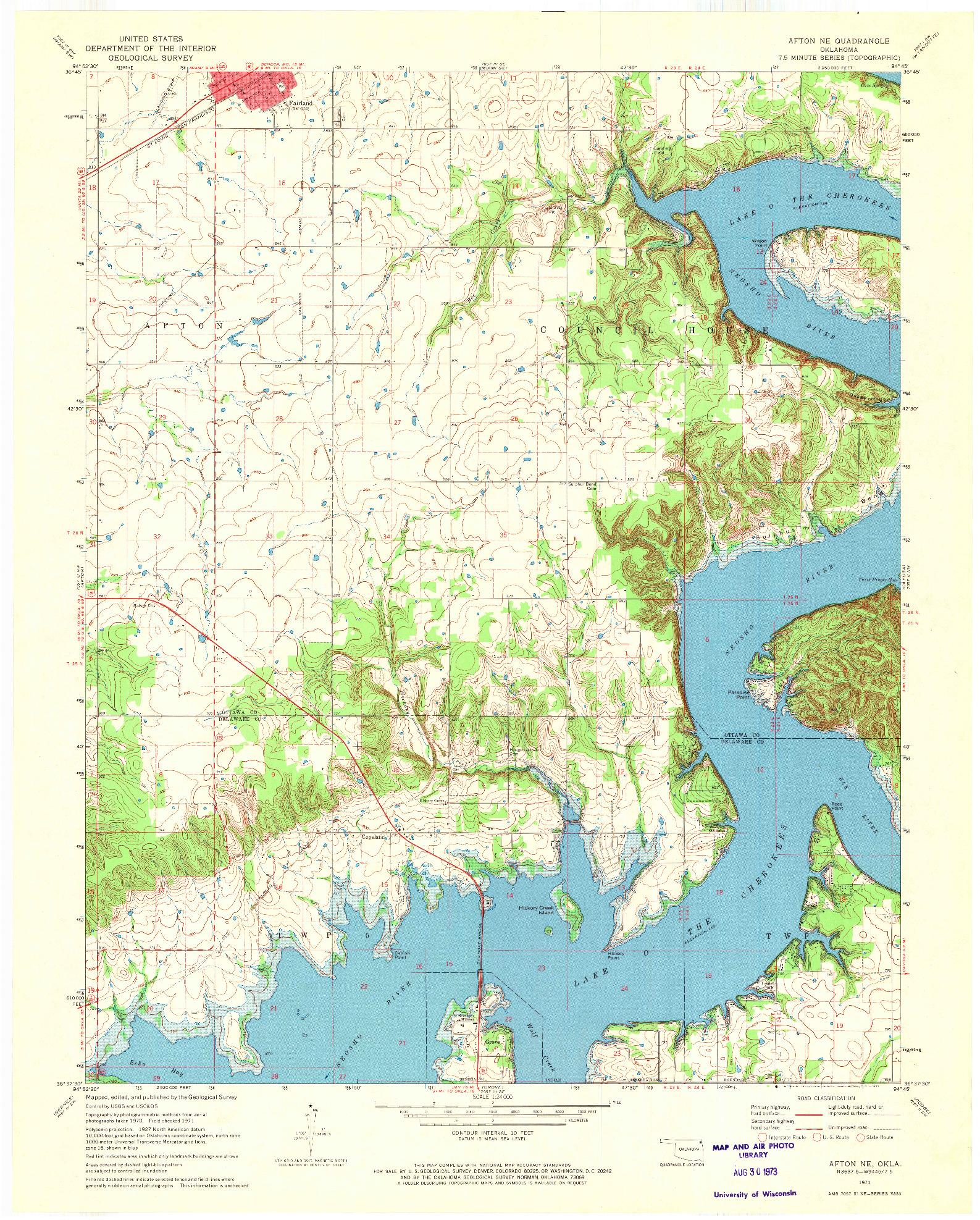USGS 1:24000-SCALE QUADRANGLE FOR AFTON NE, OK 1971