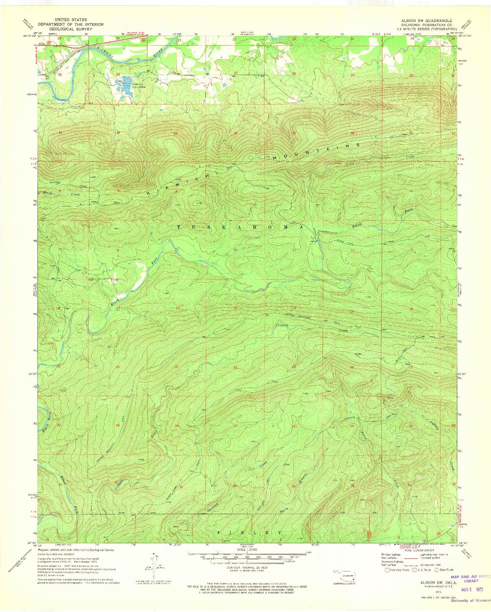 USGS 1:24000-SCALE QUADRANGLE FOR ALBION SW, OK 1971