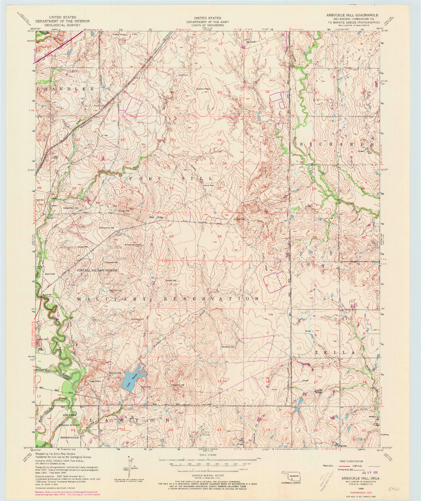 USGS 1:24000-SCALE QUADRANGLE FOR ARBUCKLE HILL, OK 1956
