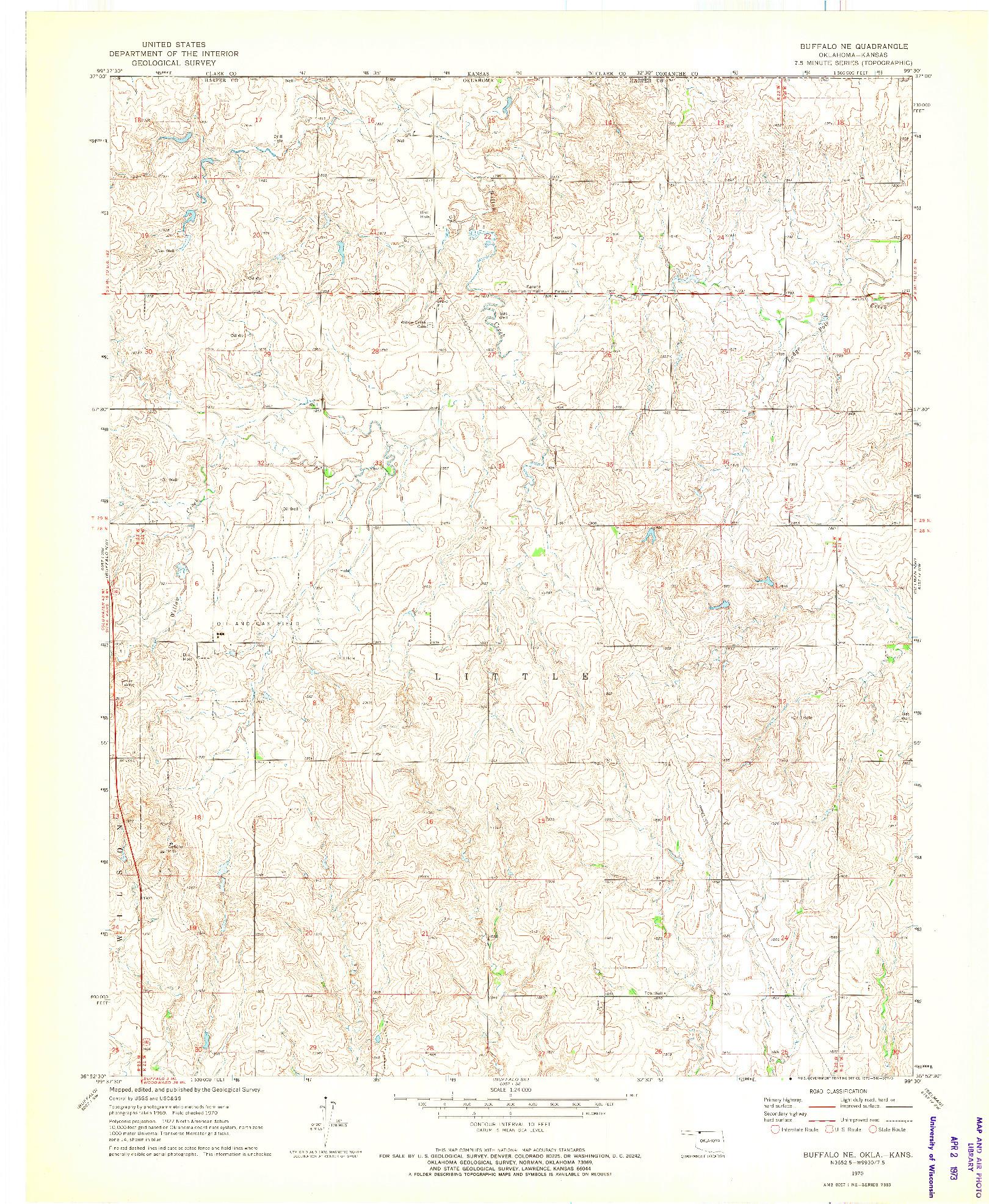 USGS 1:24000-SCALE QUADRANGLE FOR BUFFALO NE, OK 1970