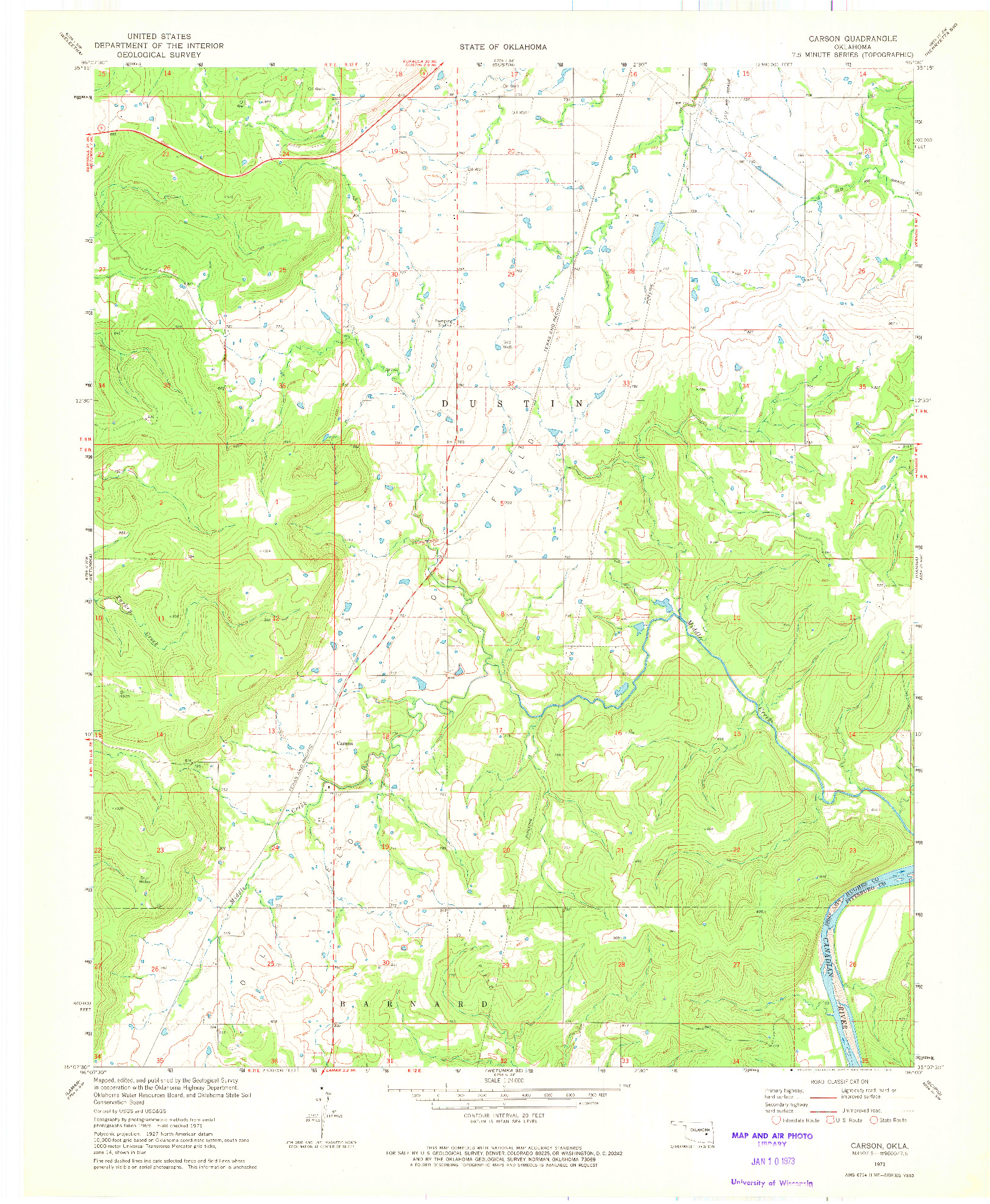 USGS 1:24000-SCALE QUADRANGLE FOR CARSON, OK 1971