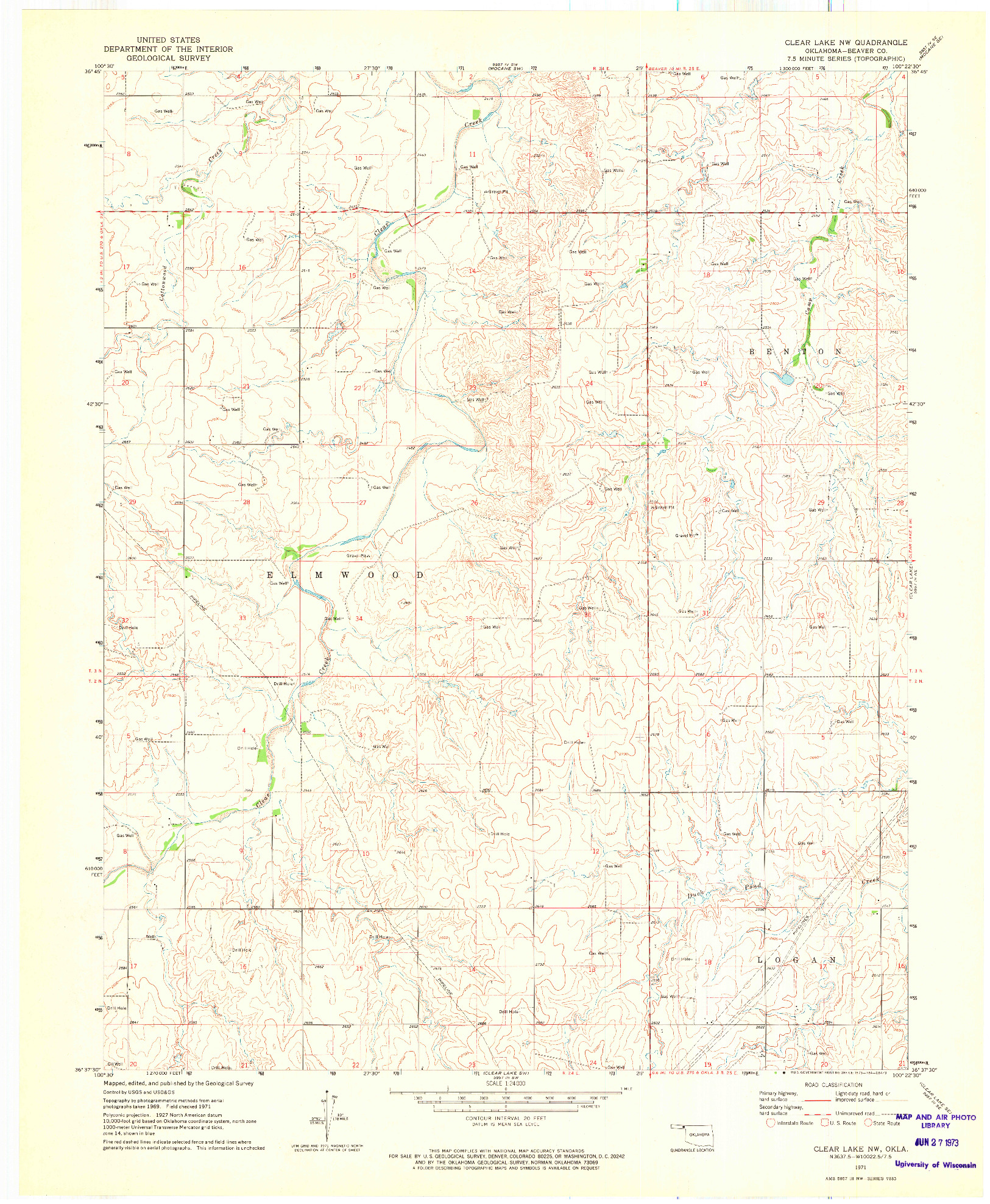 USGS 1:24000-SCALE QUADRANGLE FOR CLEAR LAKE NW, OK 1971