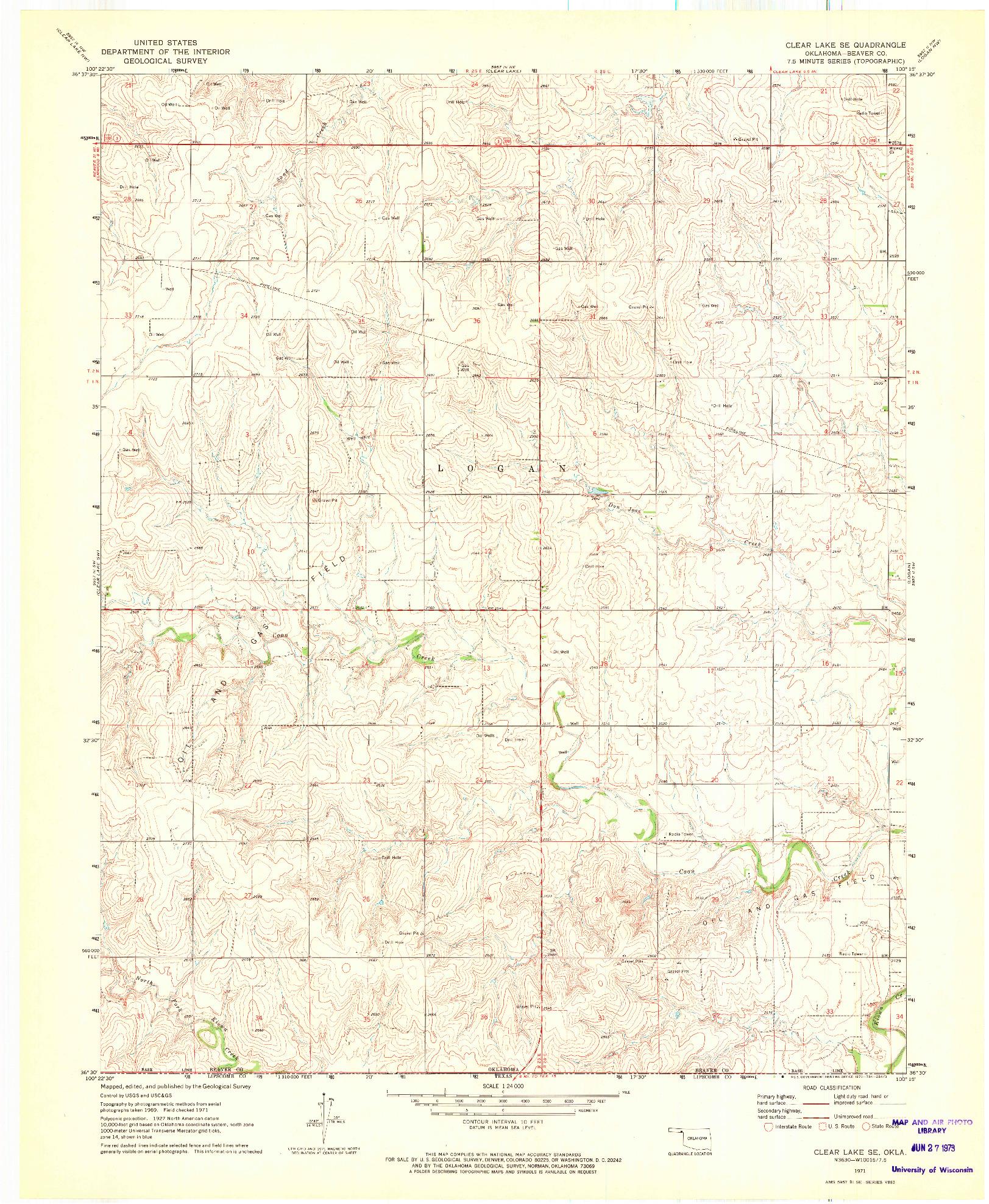 USGS 1:24000-SCALE QUADRANGLE FOR CLEAR LAKE SE, OK 1971