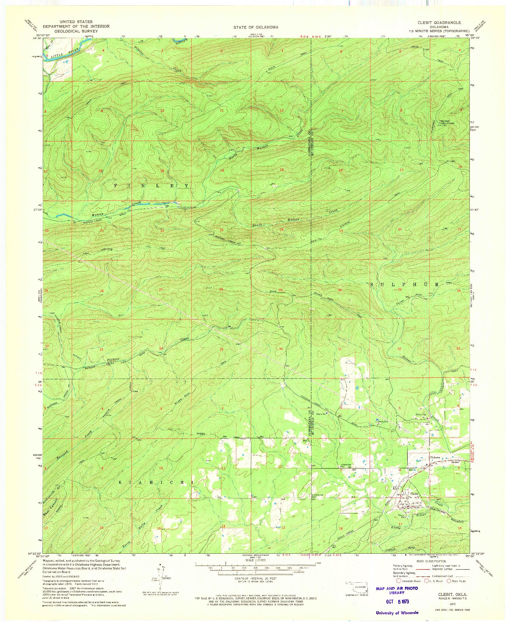 USGS 1:24000-SCALE QUADRANGLE FOR CLEBIT, OK 1972