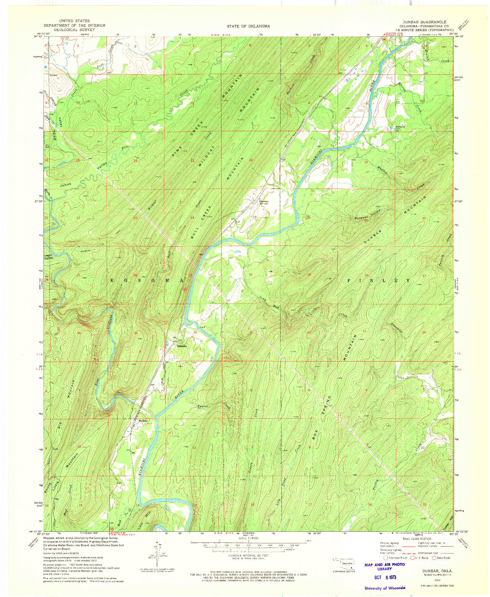 USGS 1:24000-SCALE QUADRANGLE FOR DUNBAR, OK 1972
