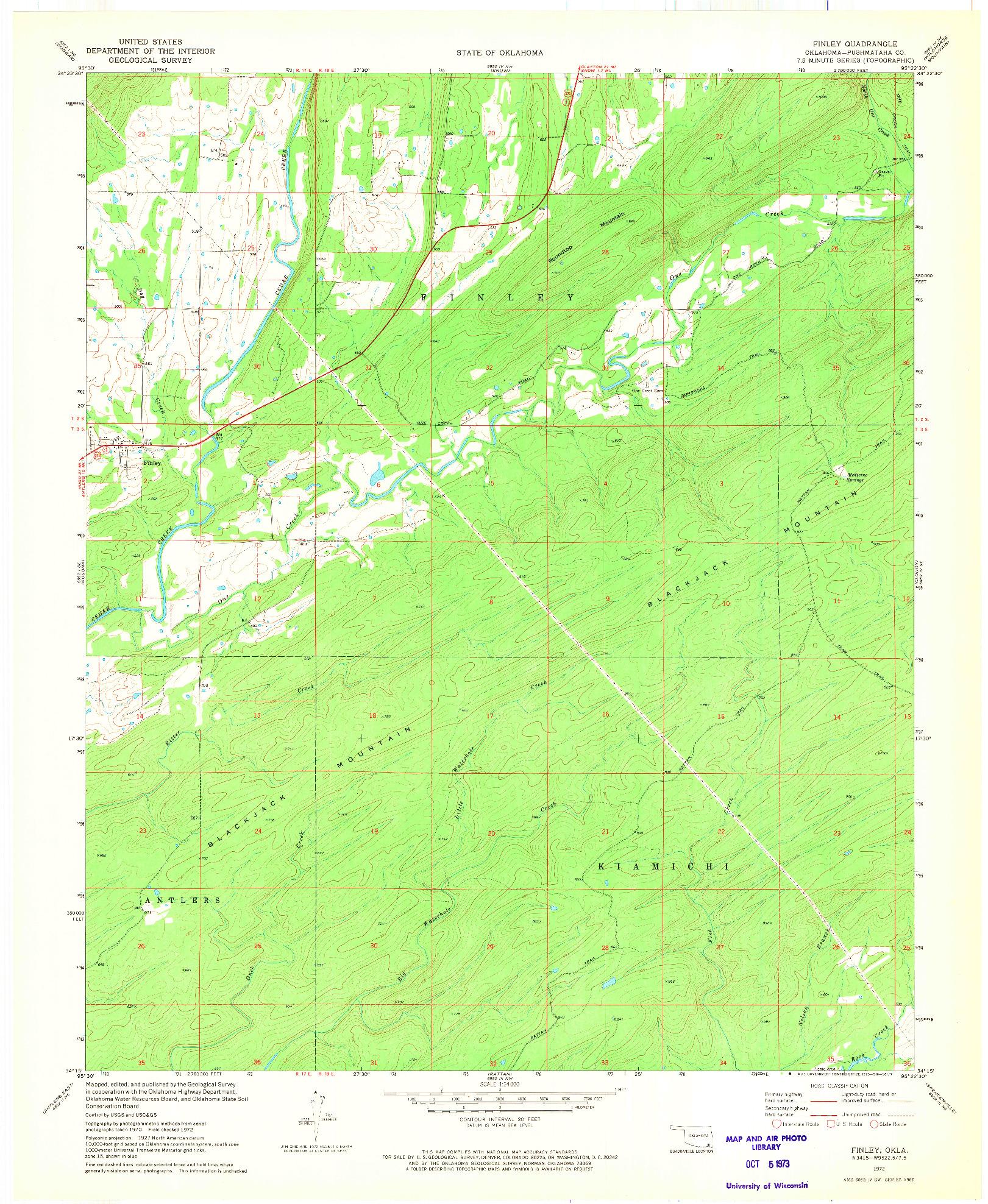 USGS 1:24000-SCALE QUADRANGLE FOR FINLEY, OK 1972