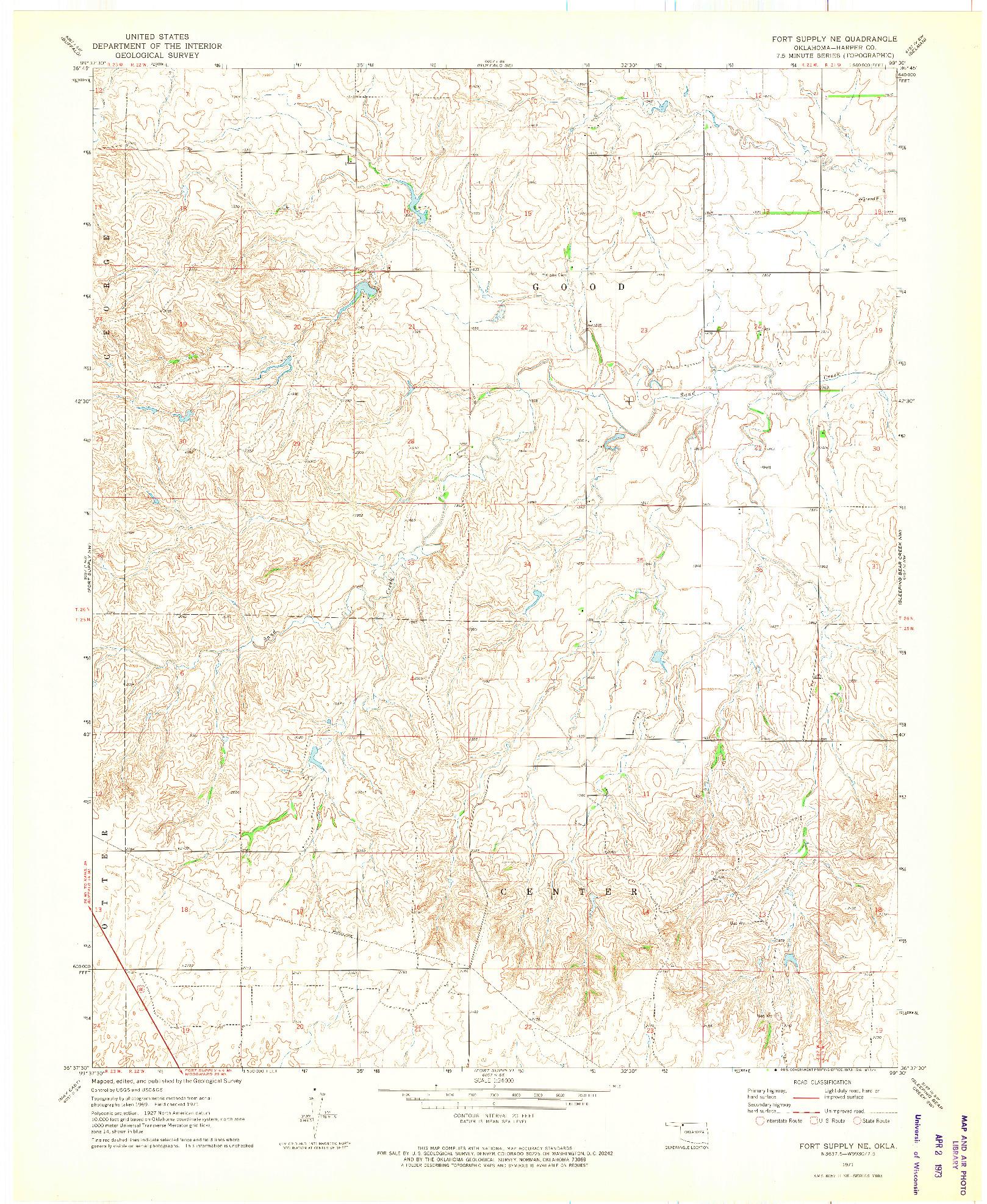 USGS 1:24000-SCALE QUADRANGLE FOR FORT SUPPLY NE, OK 1971