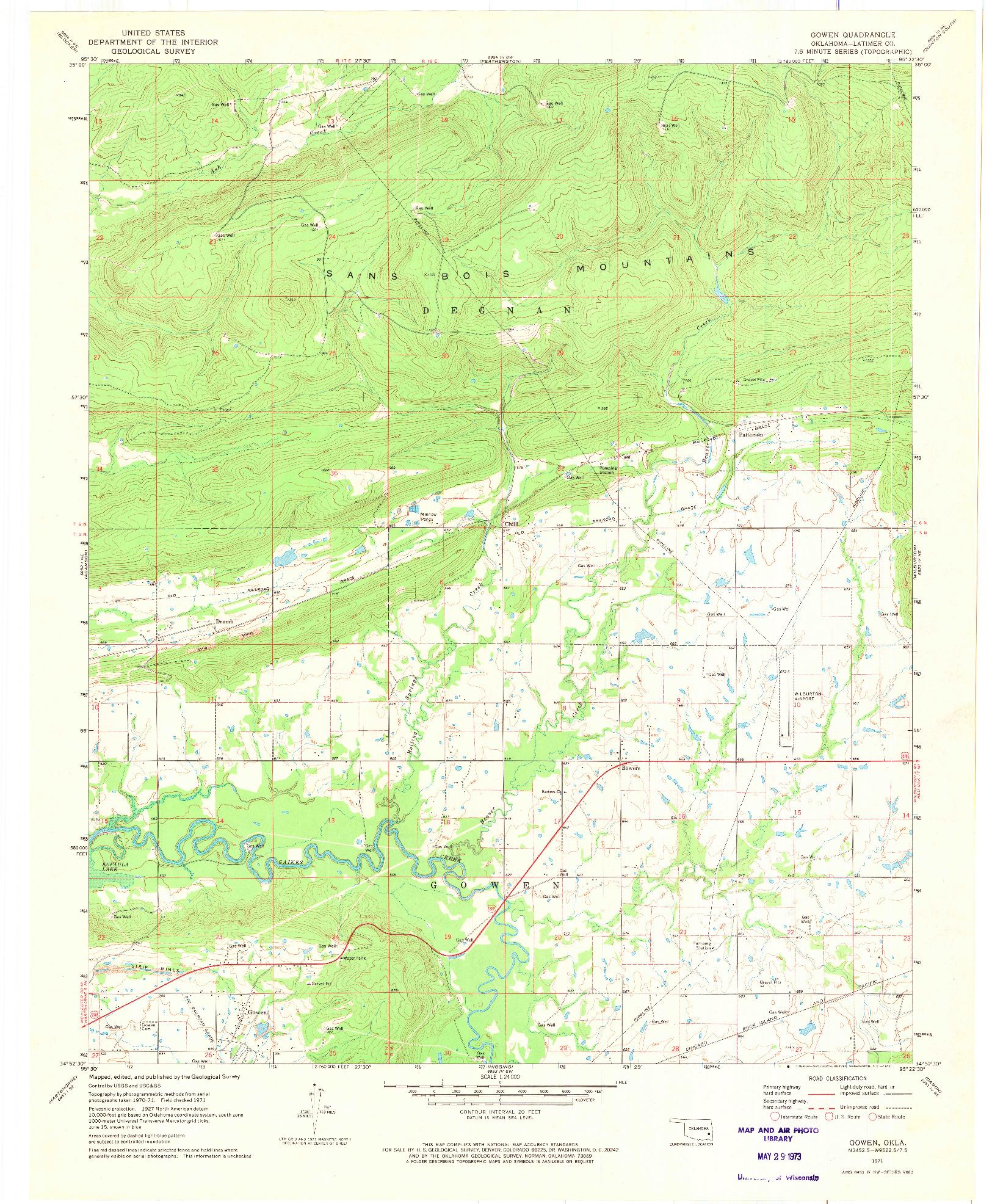 USGS 1:24000-SCALE QUADRANGLE FOR GOWEN, OK 1971