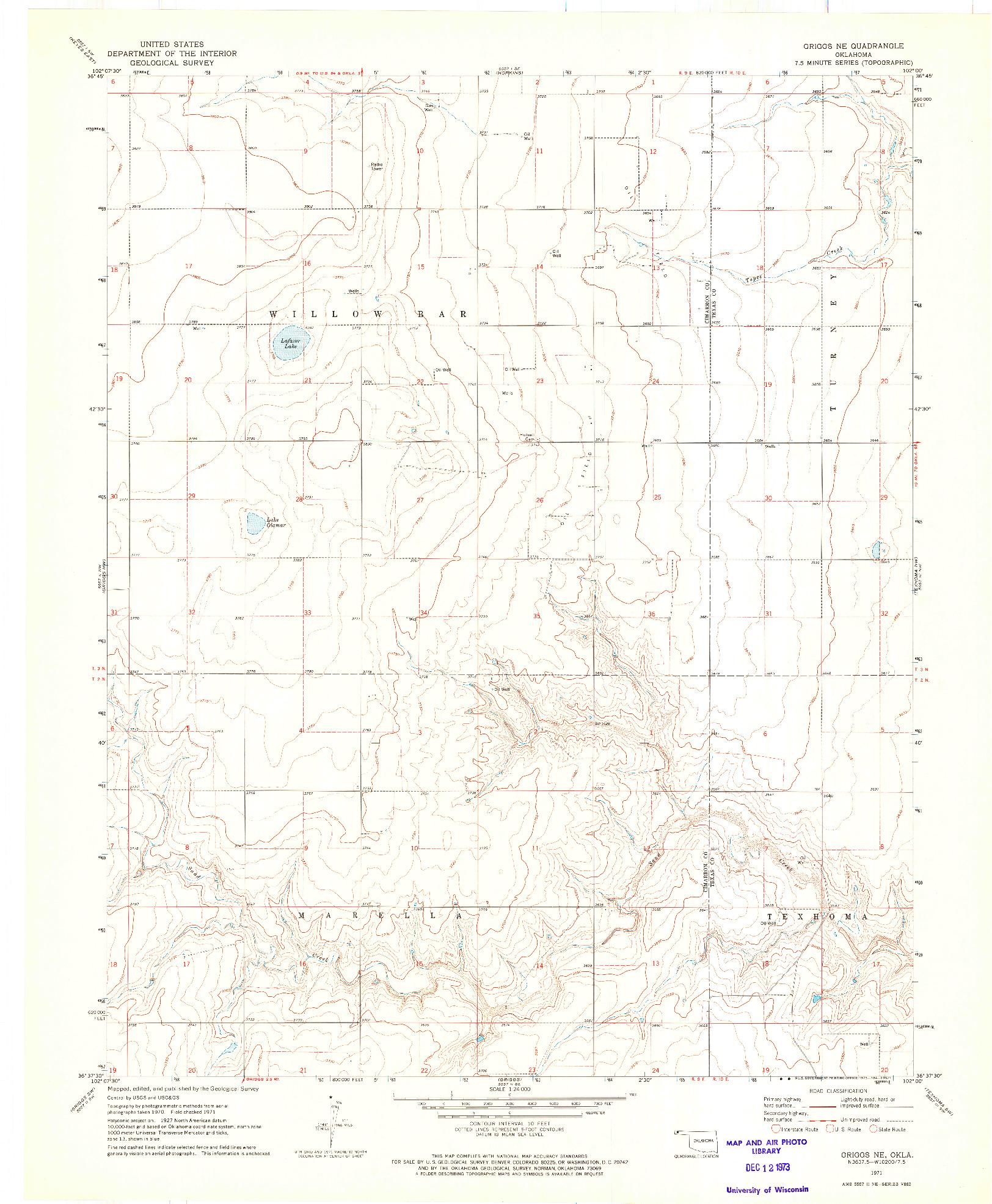 USGS 1:24000-SCALE QUADRANGLE FOR GRIGGS NE, OK 1971