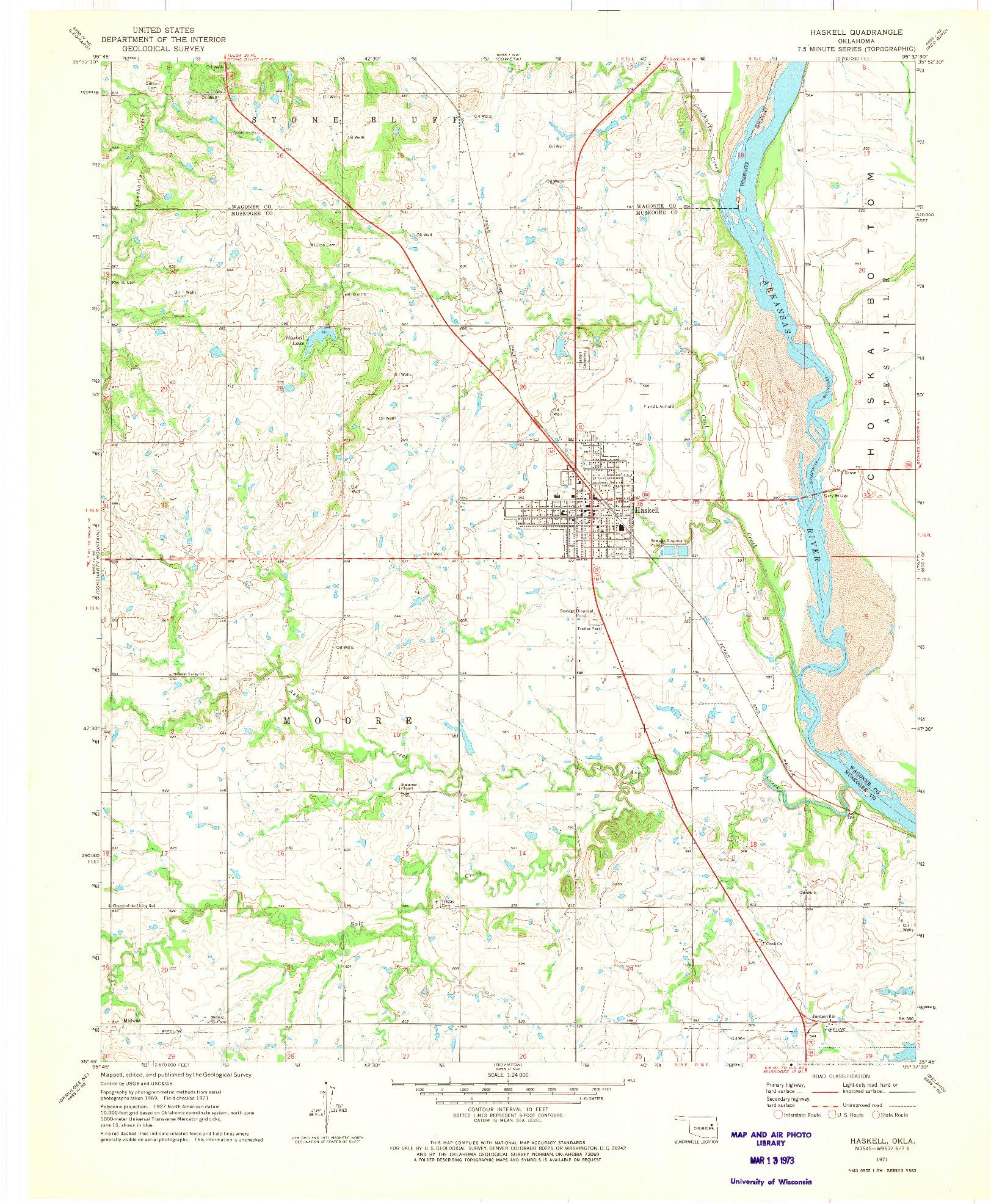 USGS 1:24000-SCALE QUADRANGLE FOR HASKELL, OK 1971