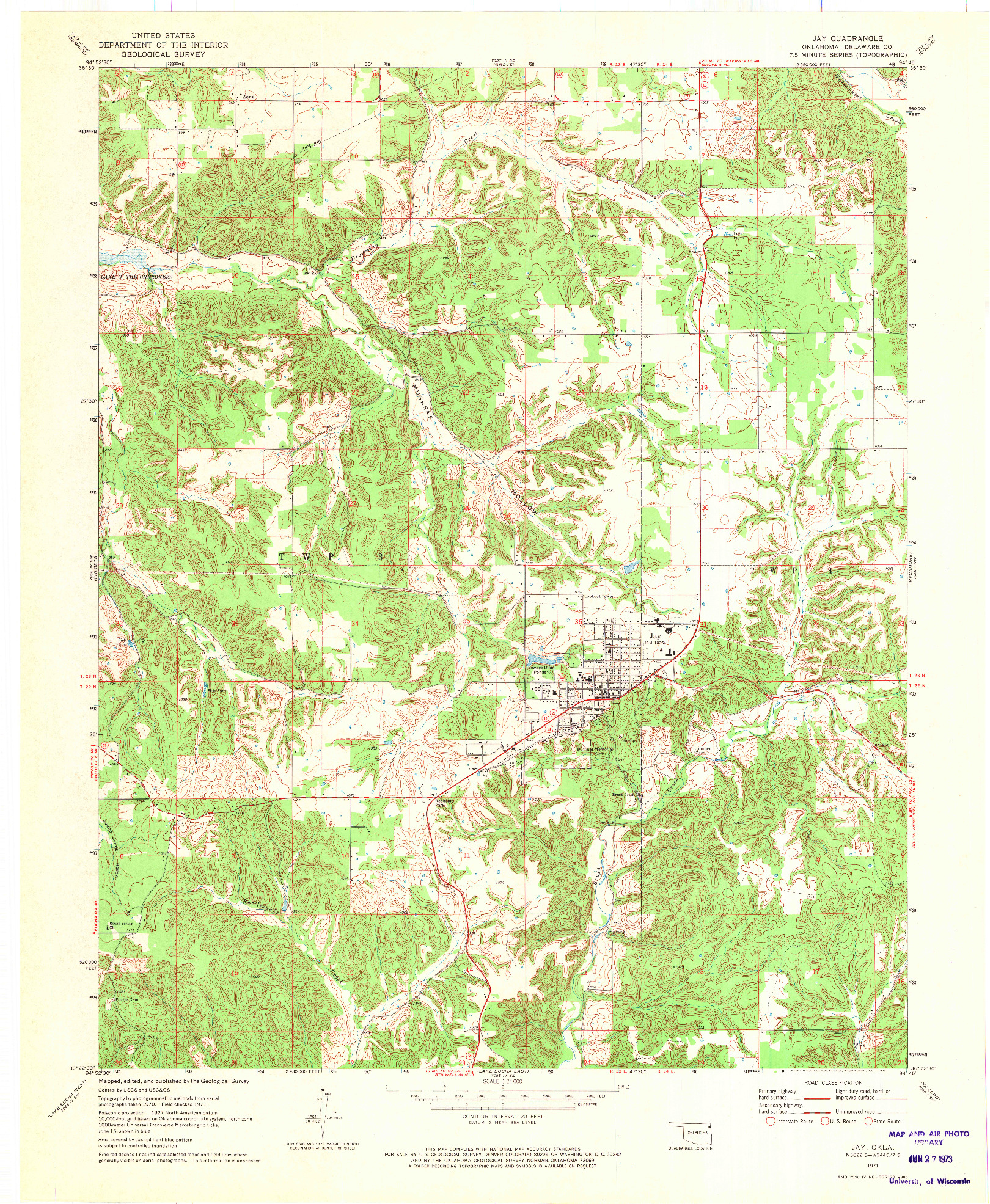 USGS 1:24000-SCALE QUADRANGLE FOR JAY, OK 1971