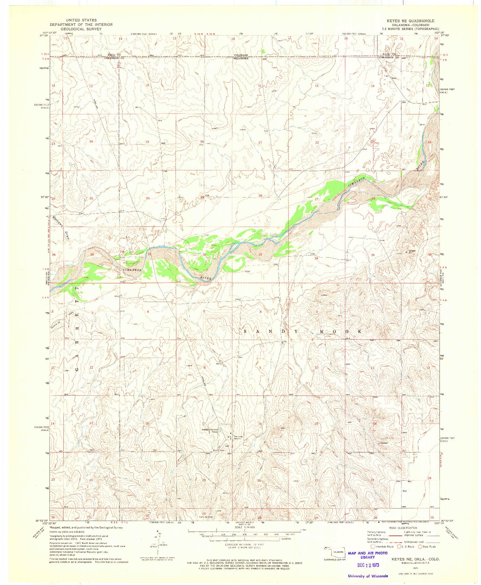 USGS 1:24000-SCALE QUADRANGLE FOR KEYES NE, OK 1971