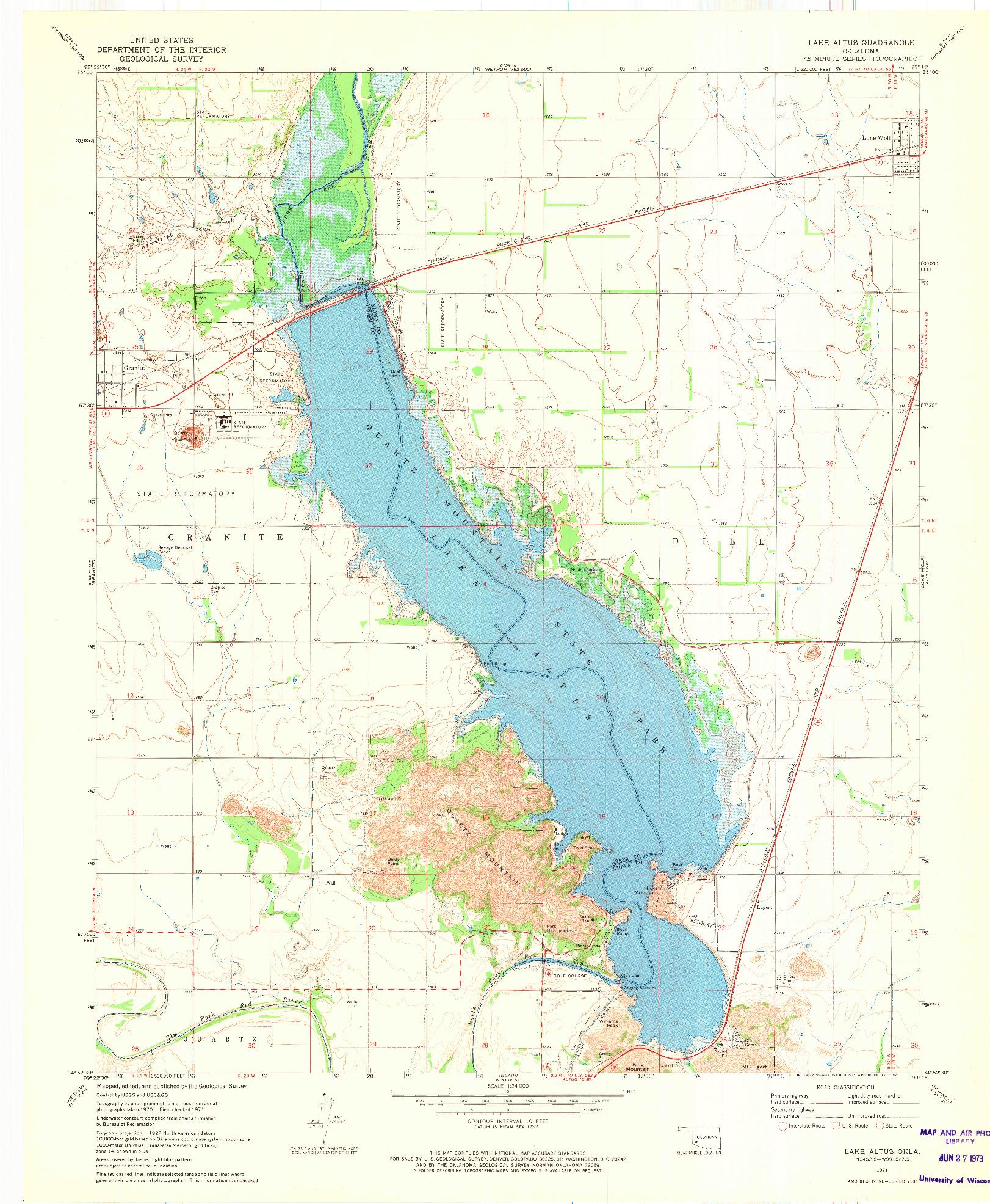 USGS 1:24000-SCALE QUADRANGLE FOR LAKE ALTUS, OK 1971