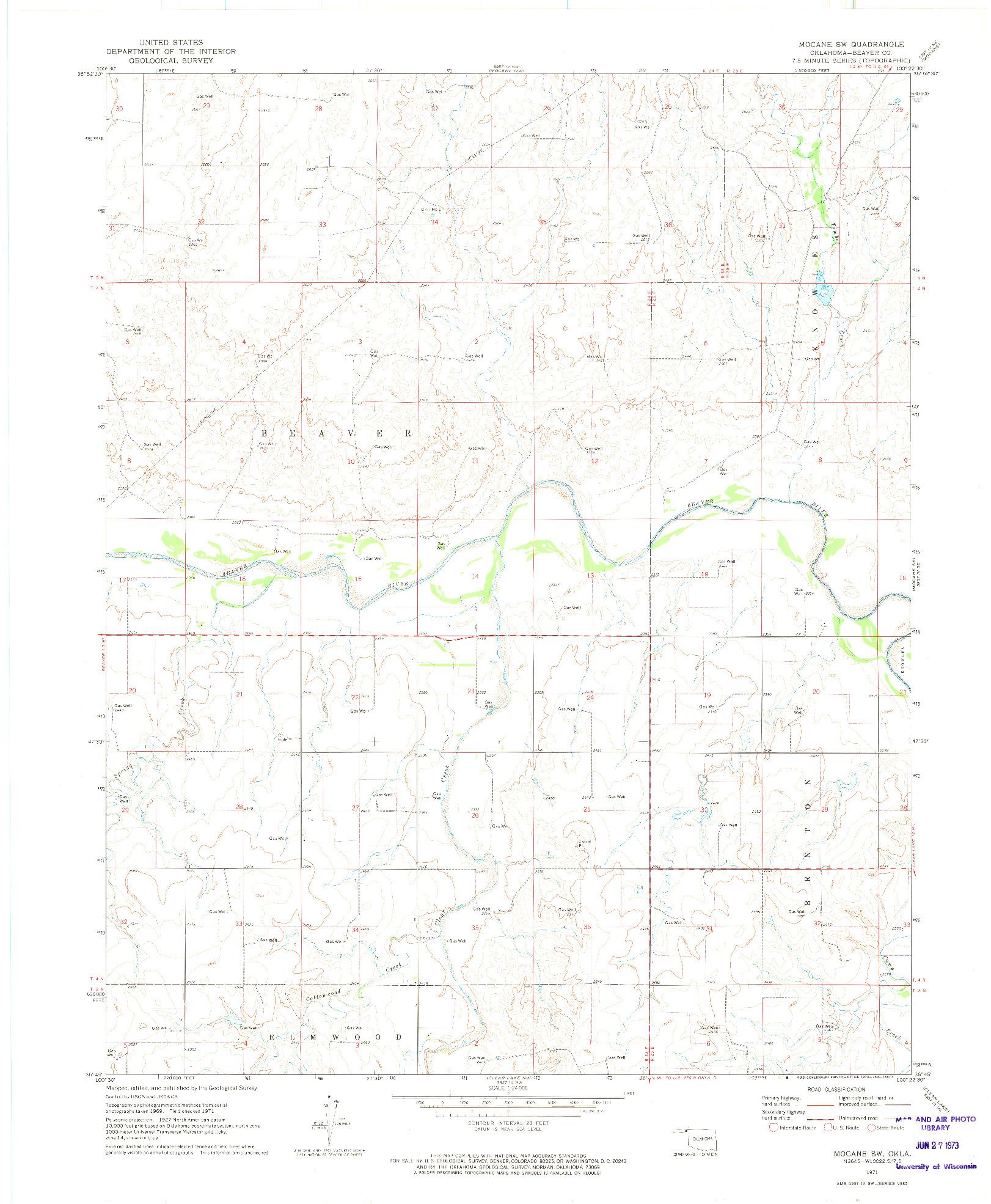 USGS 1:24000-SCALE QUADRANGLE FOR MOCANE SW, OK 1971