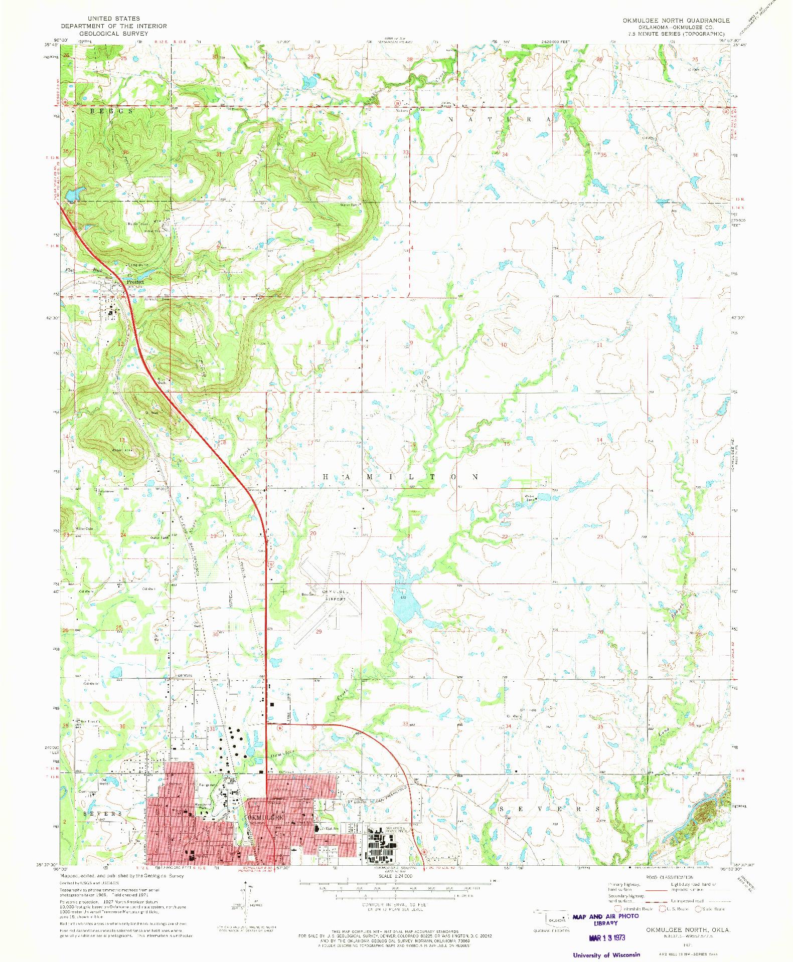 USGS 1:24000-SCALE QUADRANGLE FOR OKMULGEE NORTH, OK 1971