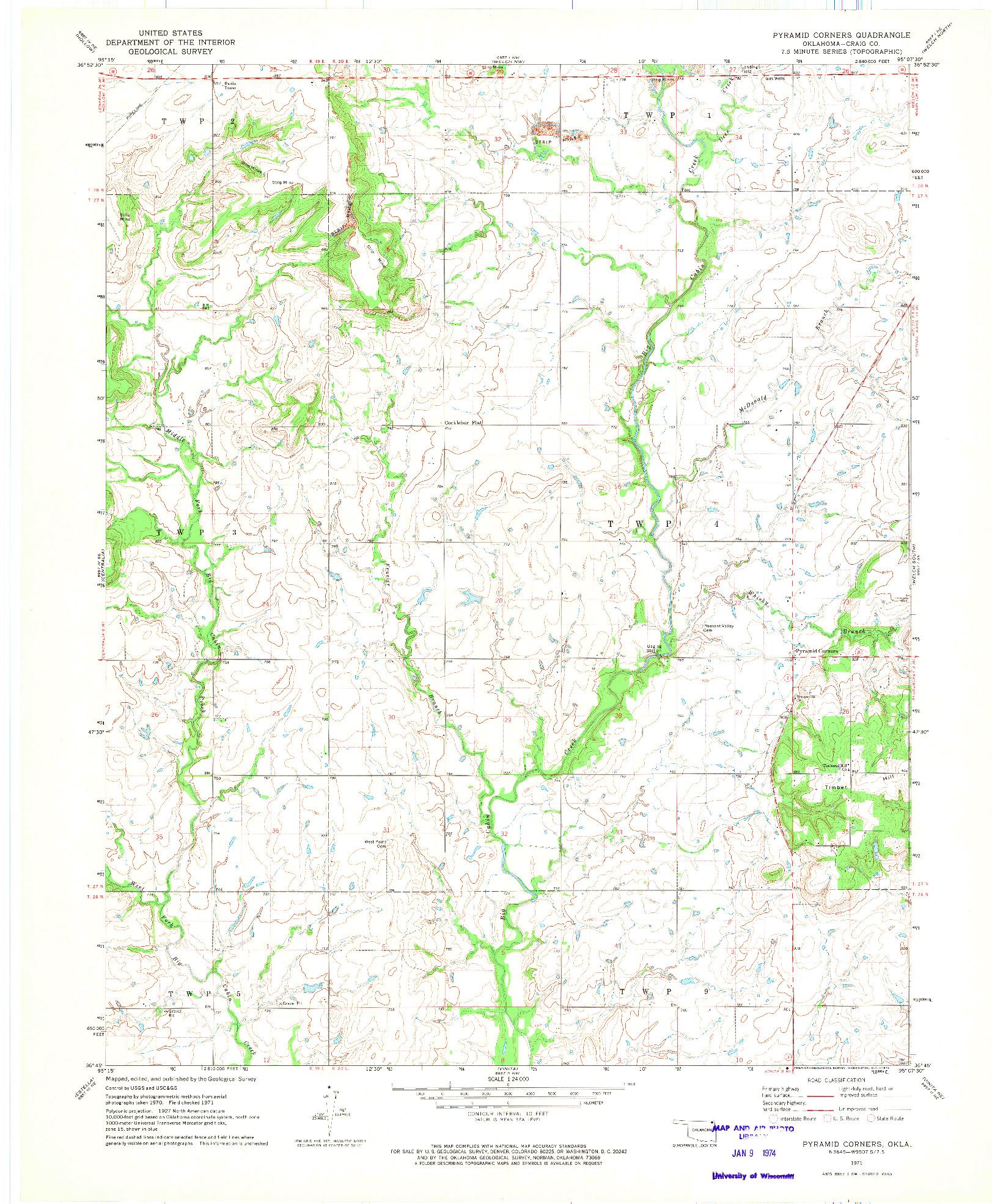 USGS 1:24000-SCALE QUADRANGLE FOR PYRAMID CORNERS, OK 1971