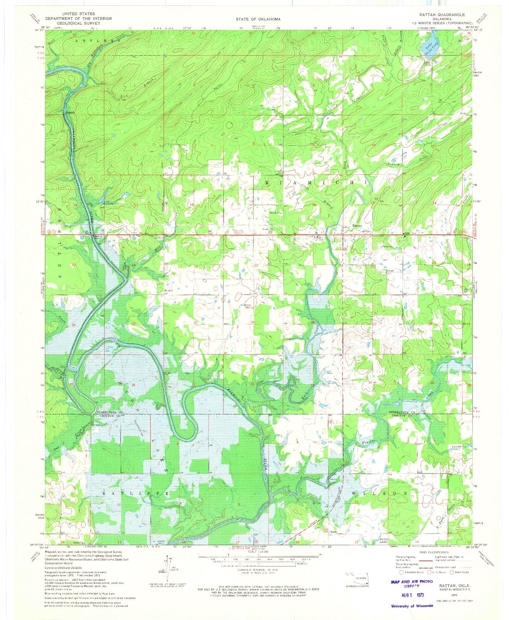 USGS 1:24000-SCALE QUADRANGLE FOR RATTAN, OK 1971