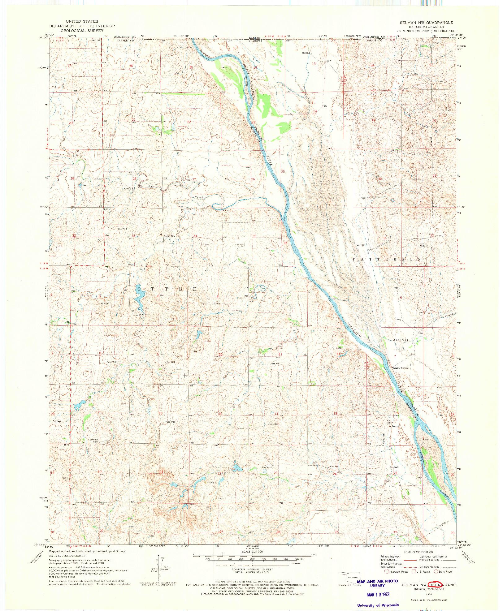 USGS 1:24000-SCALE QUADRANGLE FOR SELMAN NW, OK 1970