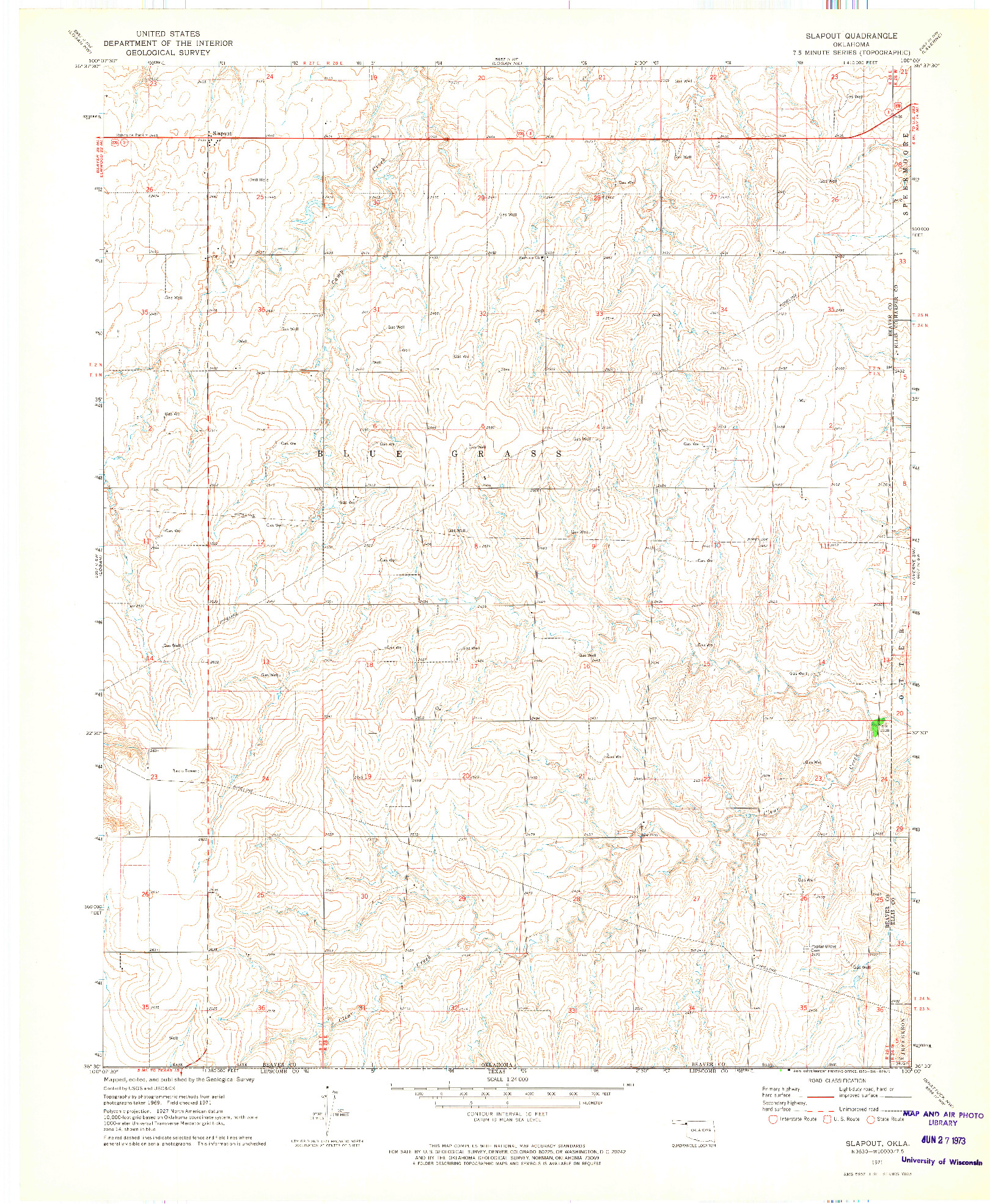 USGS 1:24000-SCALE QUADRANGLE FOR SLAPOUT, OK 1971