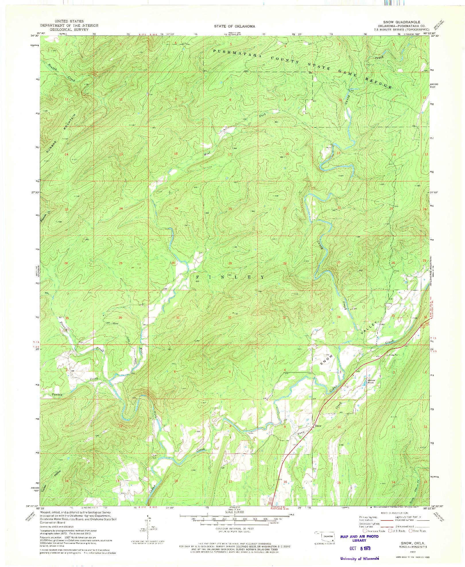USGS 1:24000-SCALE QUADRANGLE FOR SNOW, OK 1972