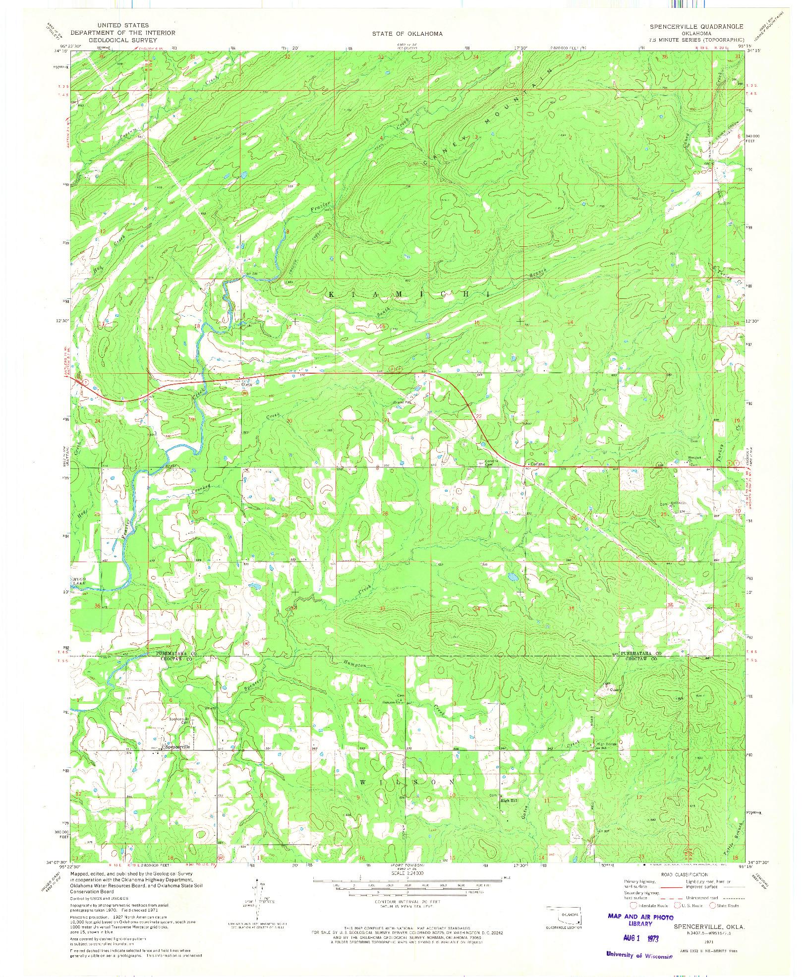 USGS 1:24000-SCALE QUADRANGLE FOR SPENCERVILLE, OK 1971