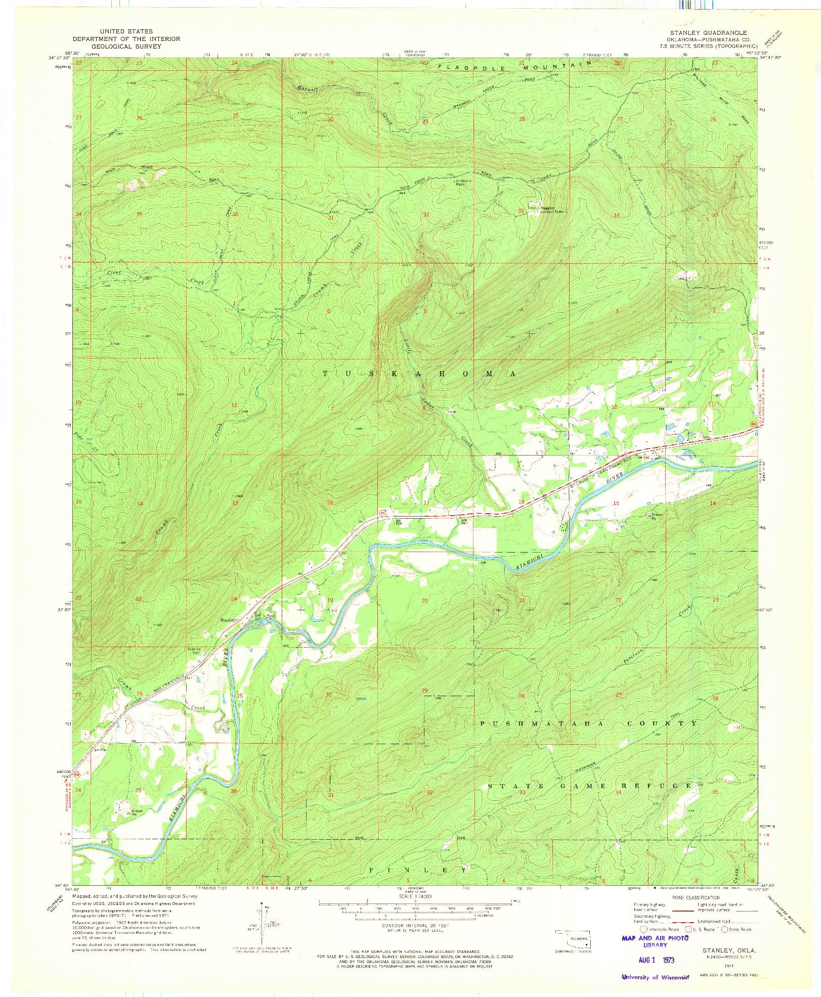 USGS 1:24000-SCALE QUADRANGLE FOR STANLEY, OK 1971
