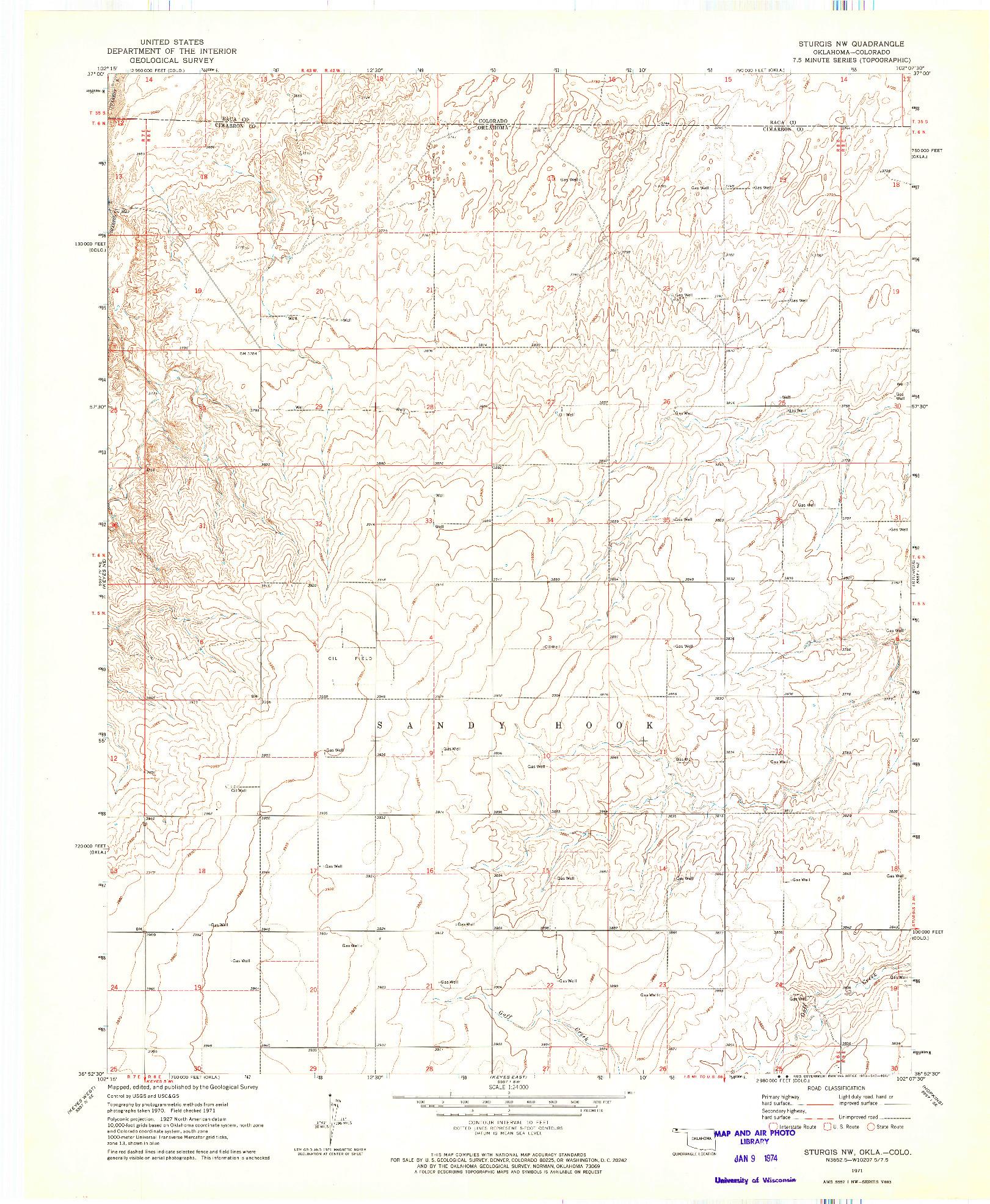 USGS 1:24000-SCALE QUADRANGLE FOR STURGIS NW, OK 1971