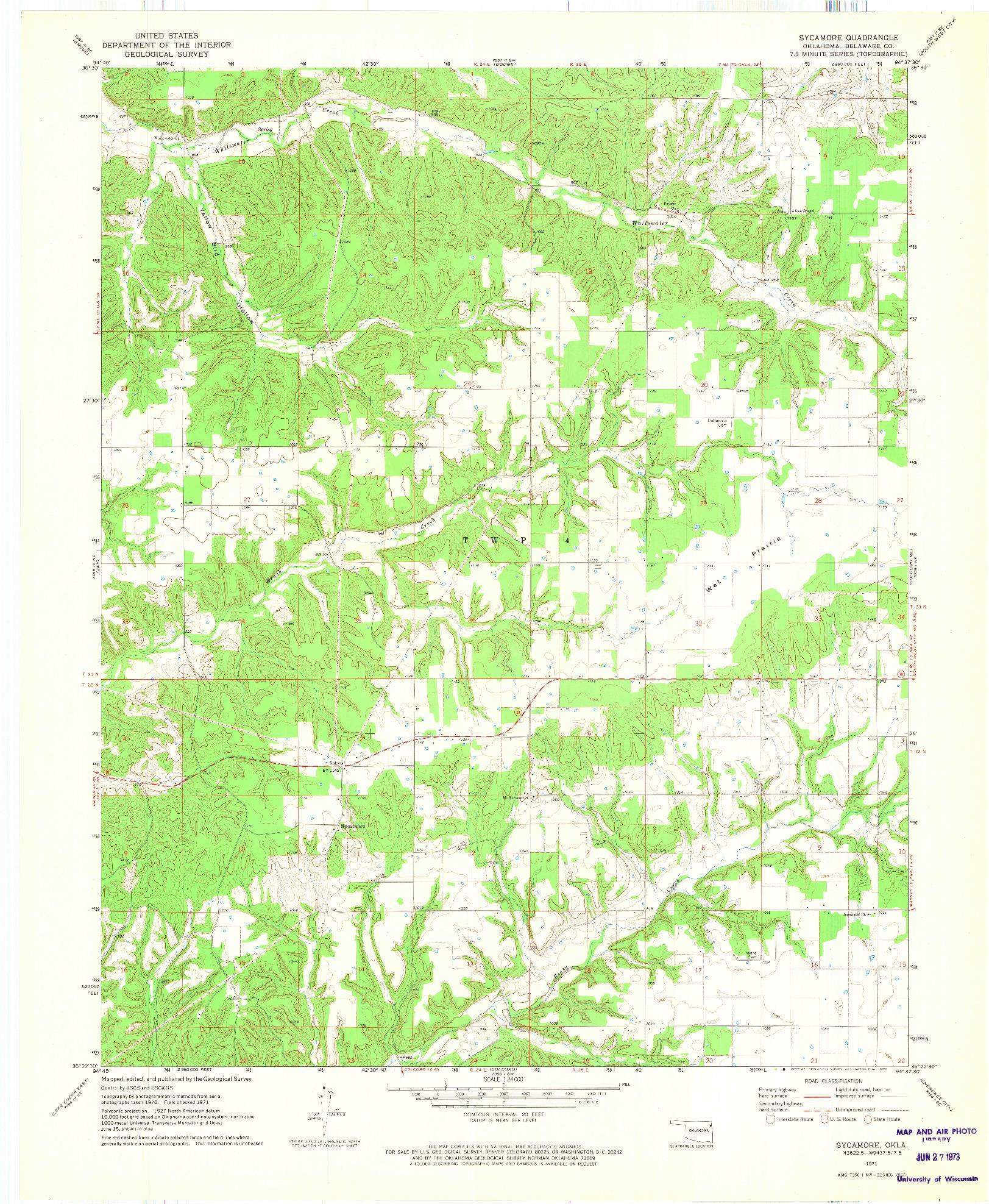 USGS 1:24000-SCALE QUADRANGLE FOR SYCAMORE, OK 1971