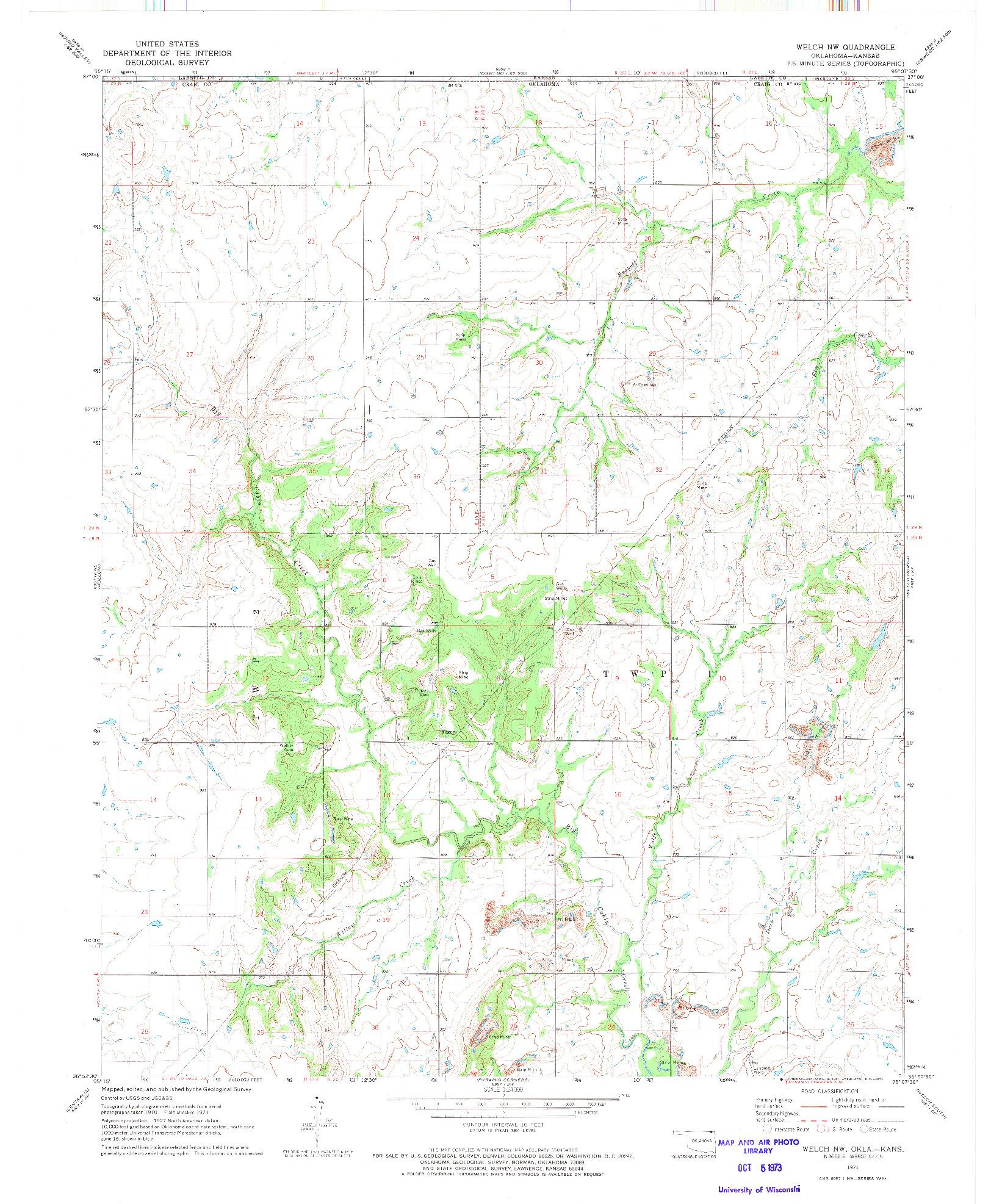 USGS 1:24000-SCALE QUADRANGLE FOR WELCH NW, OK 1971