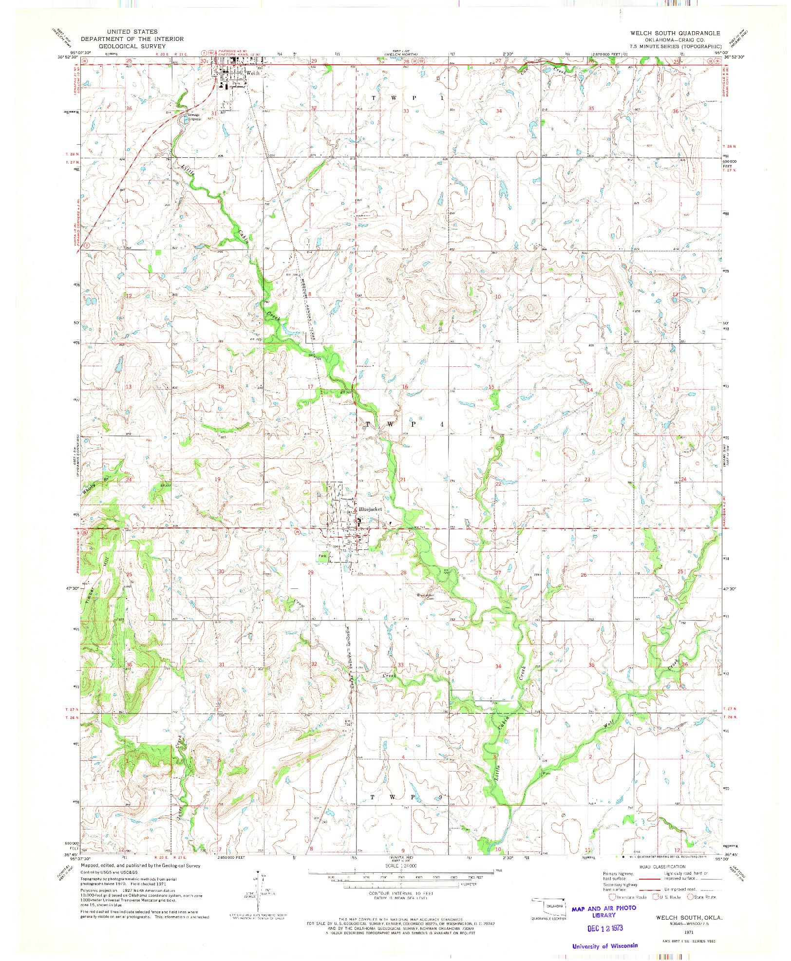 USGS 1:24000-SCALE QUADRANGLE FOR WELCH SOUTH, OK 1971