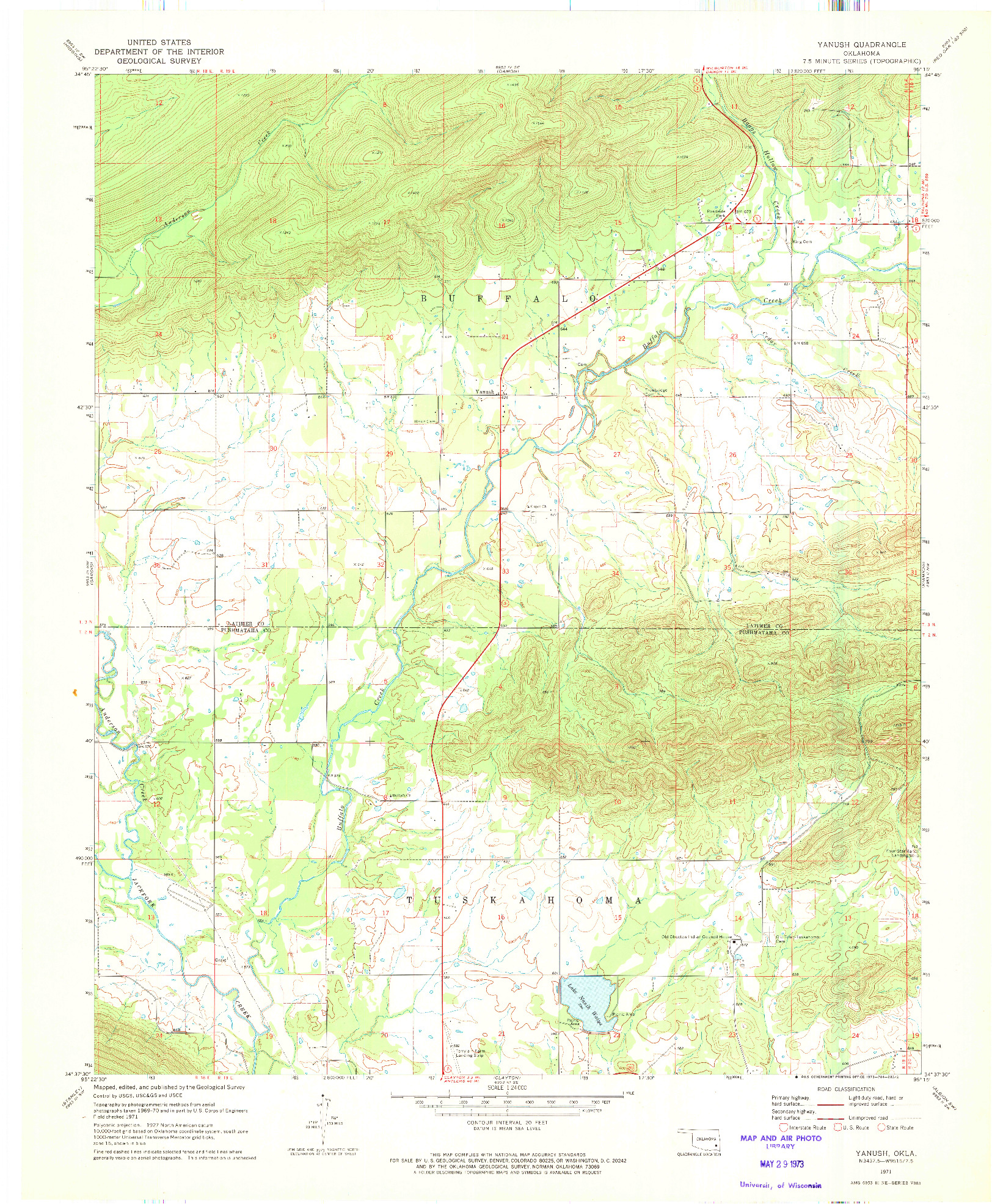 USGS 1:24000-SCALE QUADRANGLE FOR YANUSH, OK 1971
