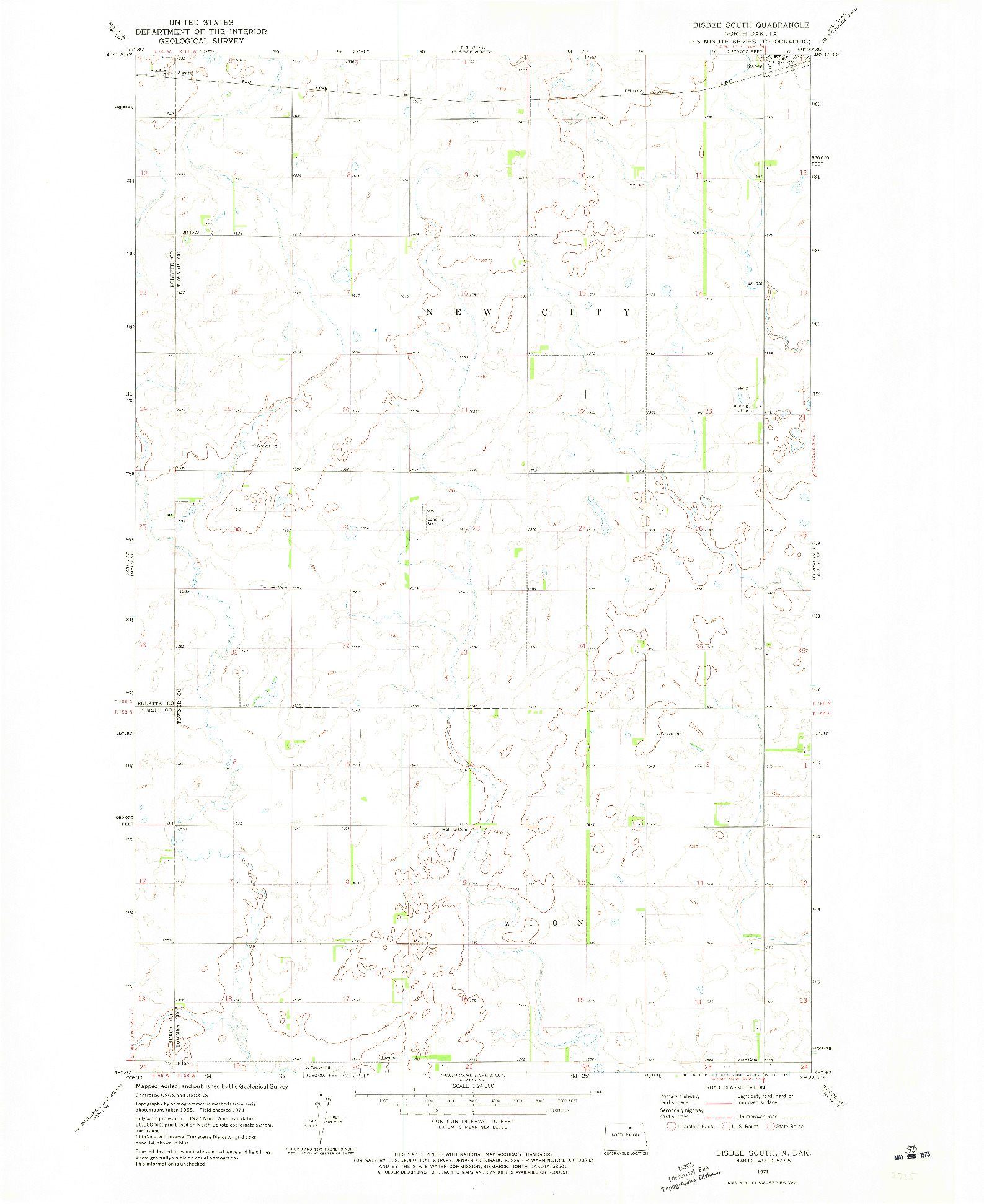 USGS 1:24000-SCALE QUADRANGLE FOR BISBEE SOUTH, ND 1971