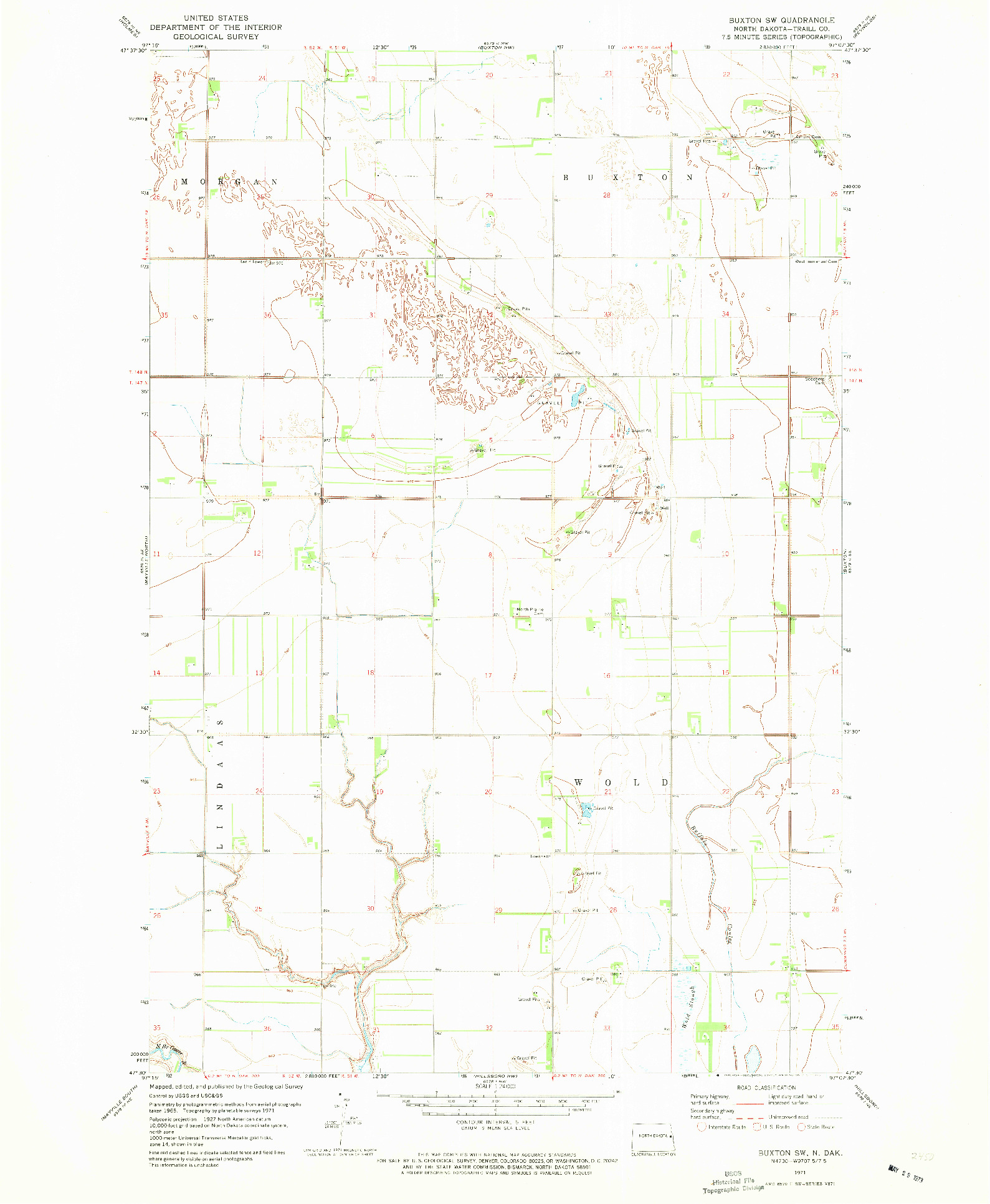 USGS 1:24000-SCALE QUADRANGLE FOR BUXTON SW, ND 1971