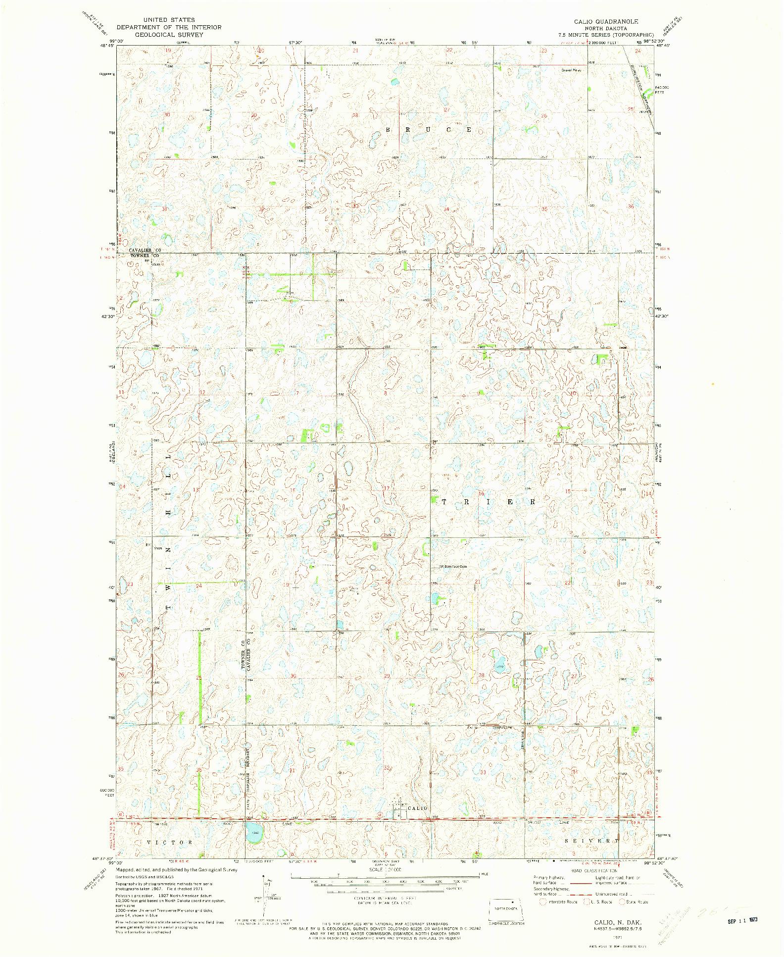 USGS 1:24000-SCALE QUADRANGLE FOR CALIO, ND 1971