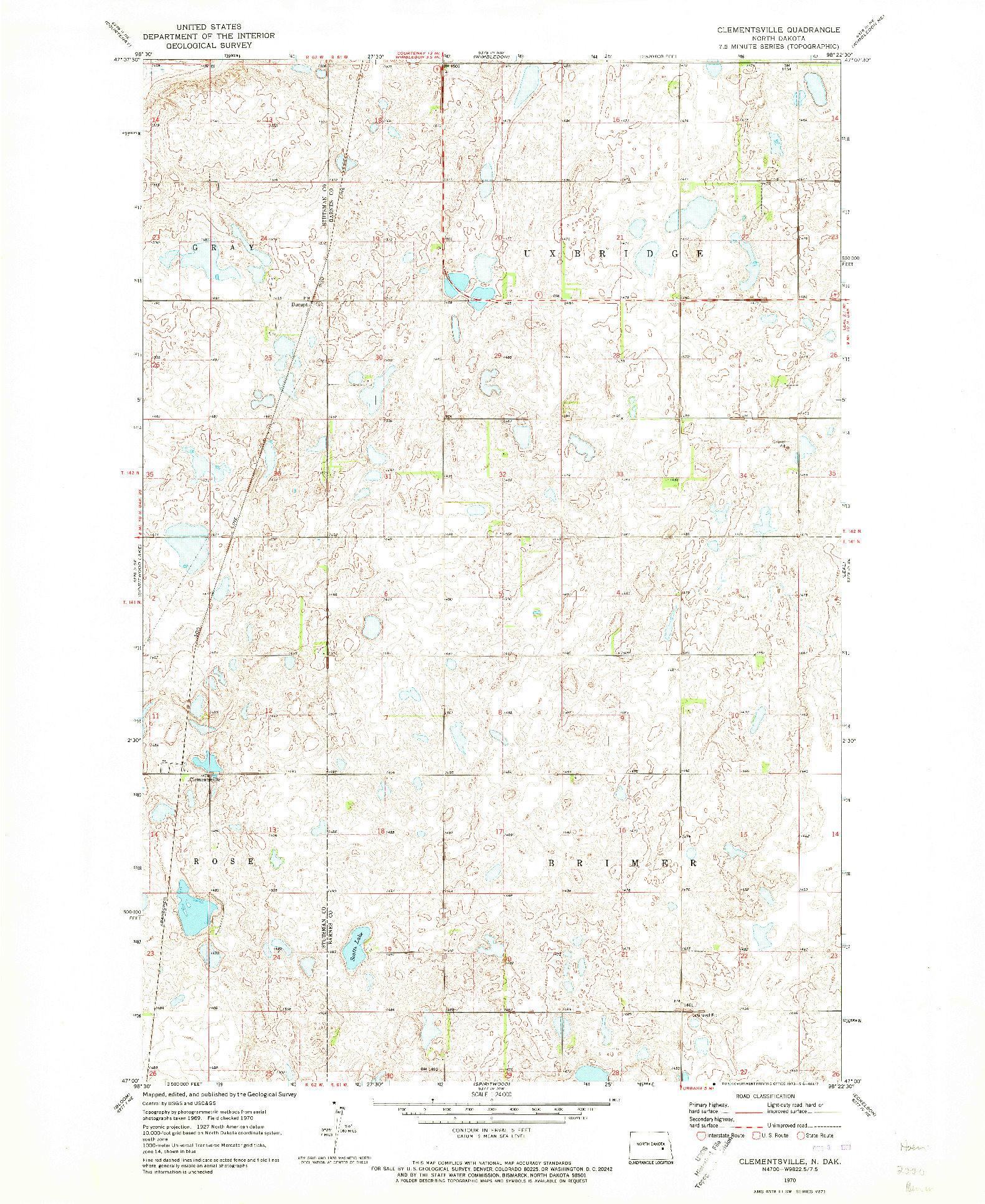 USGS 1:24000-SCALE QUADRANGLE FOR CLEMENTSVILLE, ND 1970