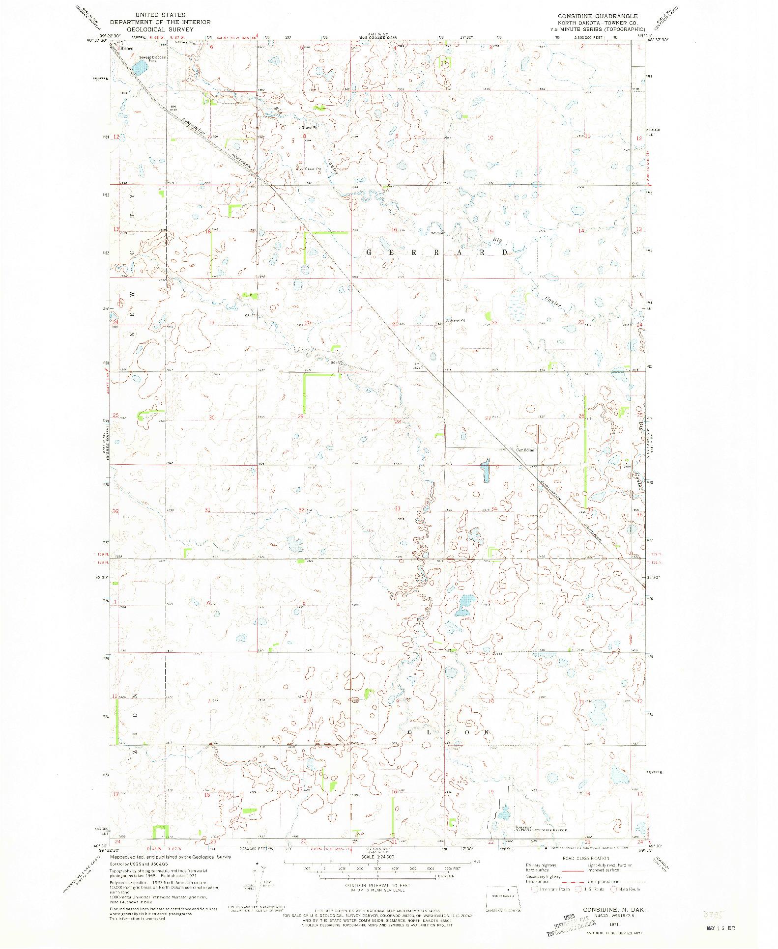 USGS 1:24000-SCALE QUADRANGLE FOR CONSIDINE, ND 1971