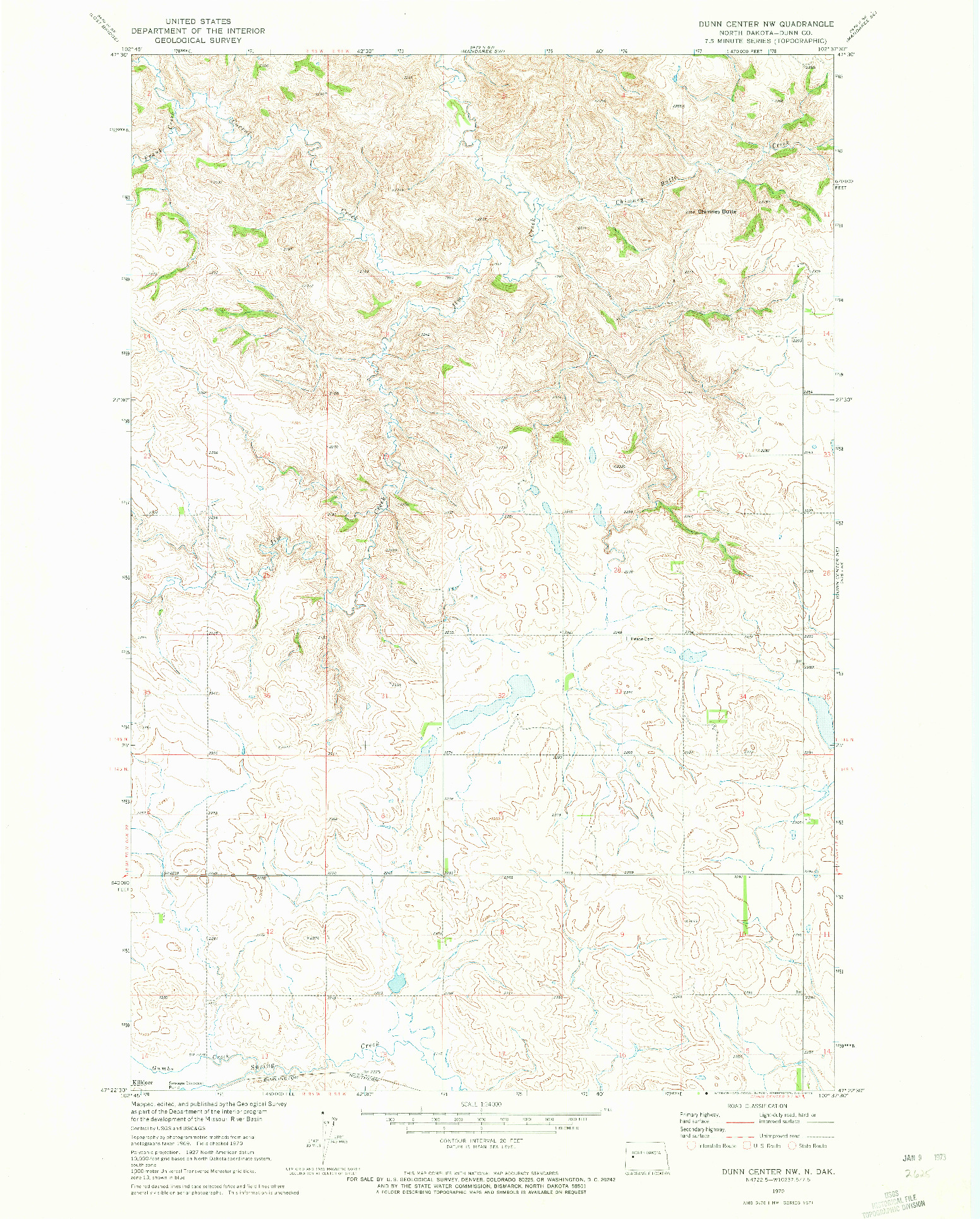 USGS 1:24000-SCALE QUADRANGLE FOR DUNN CENTER NW, ND 1970